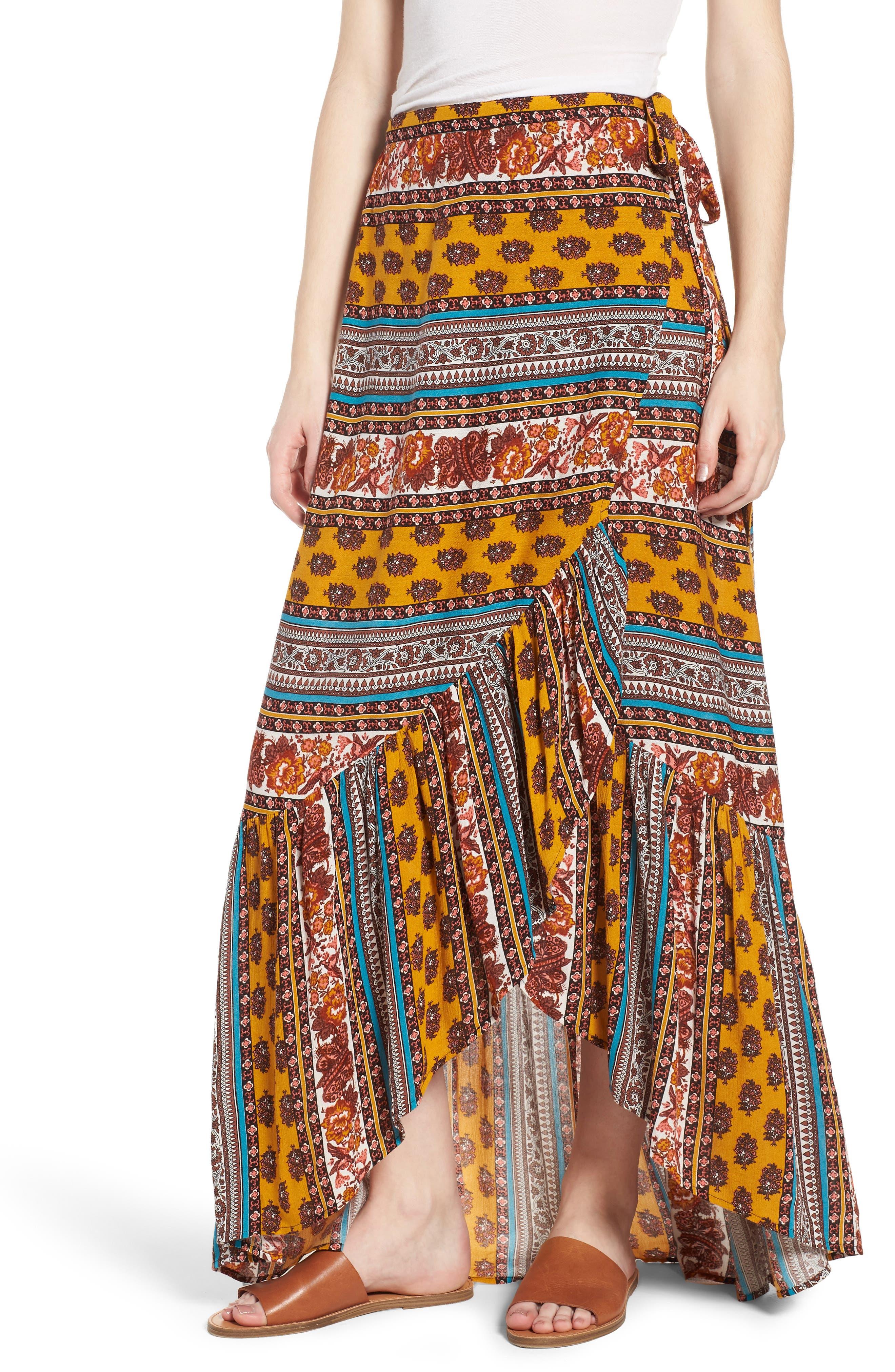 Geo Stripe Wrap Skirt,                             Alternate thumbnail 6, color,                             Gold/ Teal
