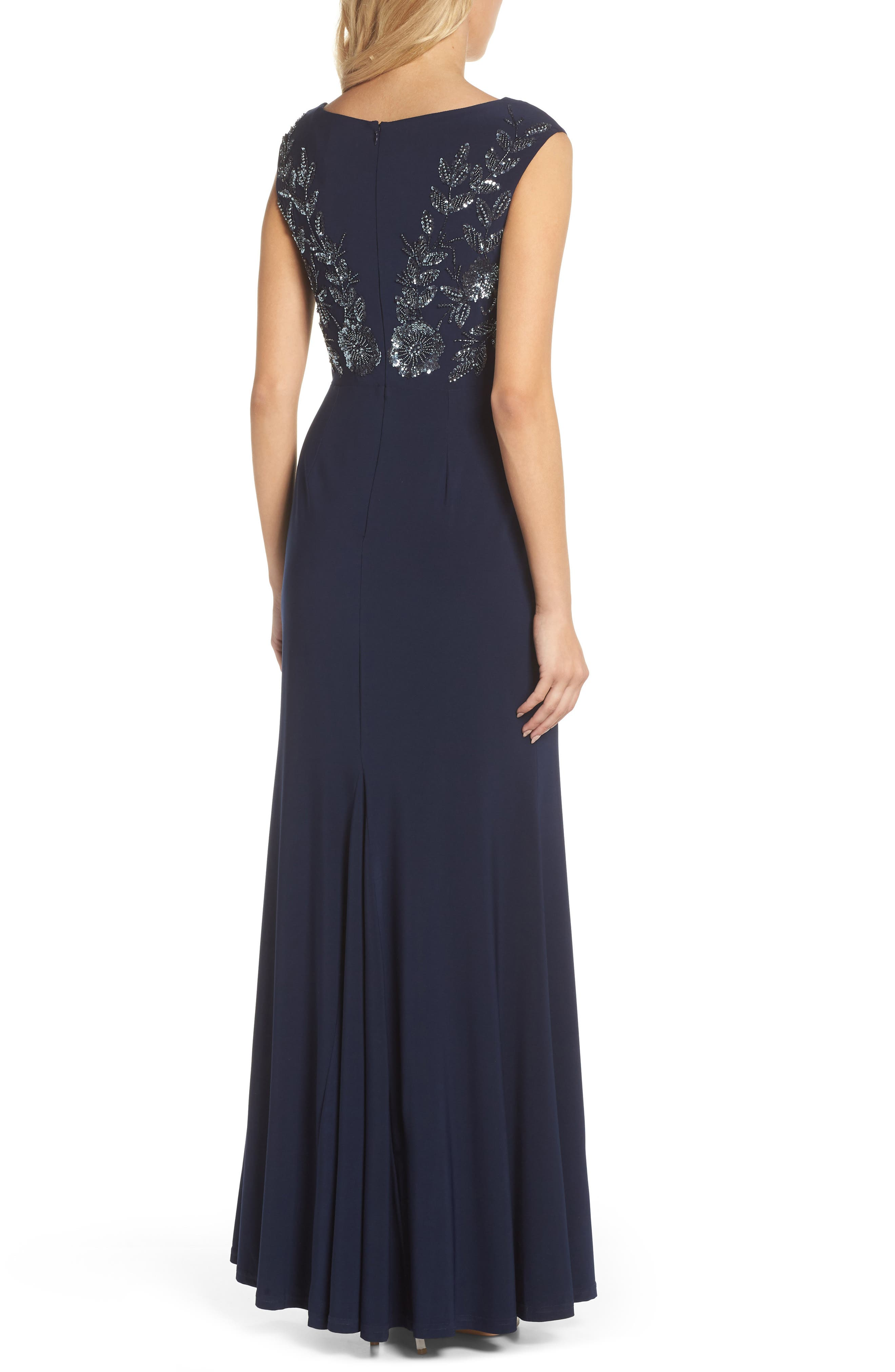 Beaded Gown,                             Alternate thumbnail 2, color,                             Midnight