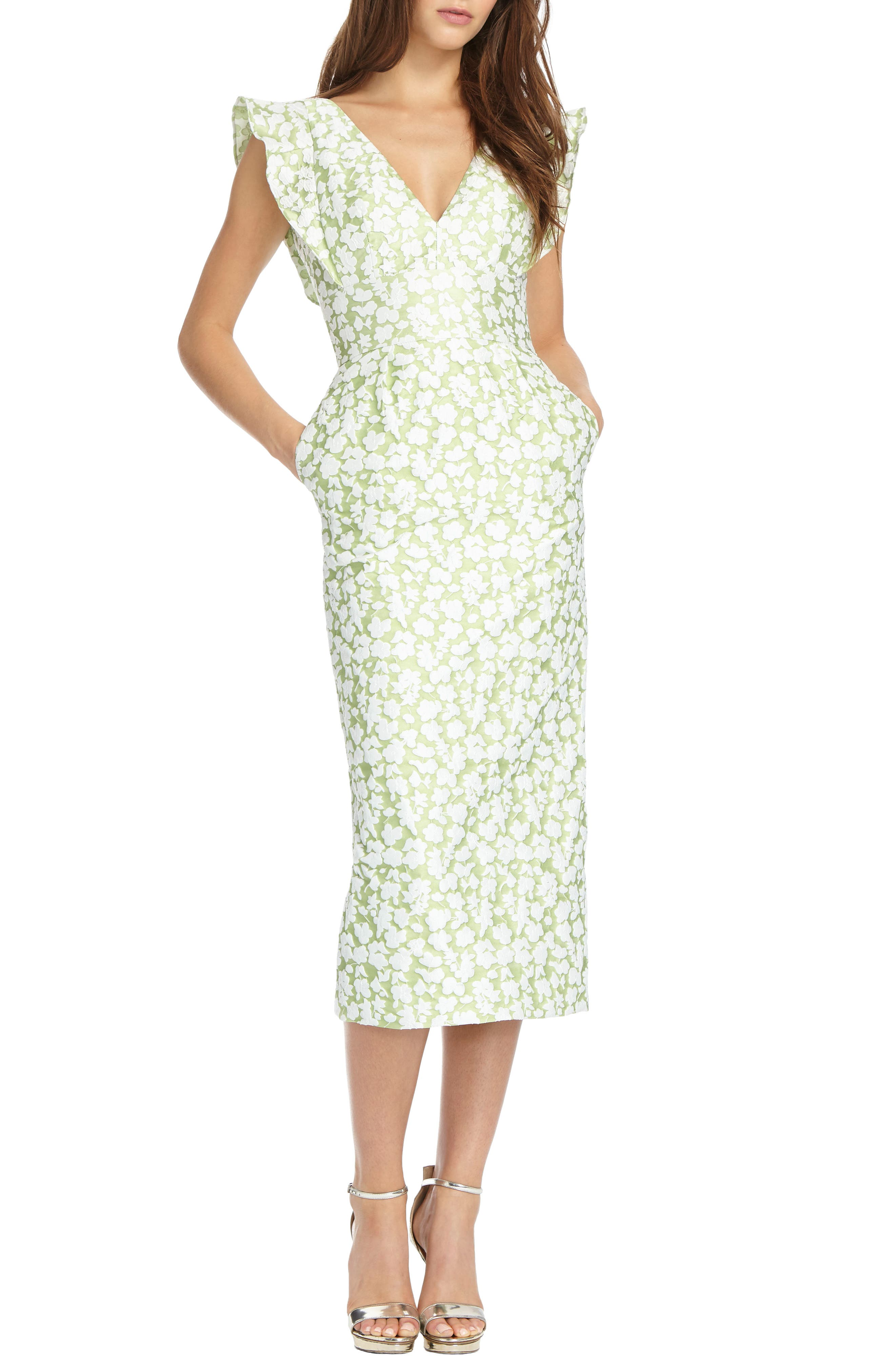 Floral Jacquard Sheath Dress,                             Main thumbnail 1, color,                             Honeydew