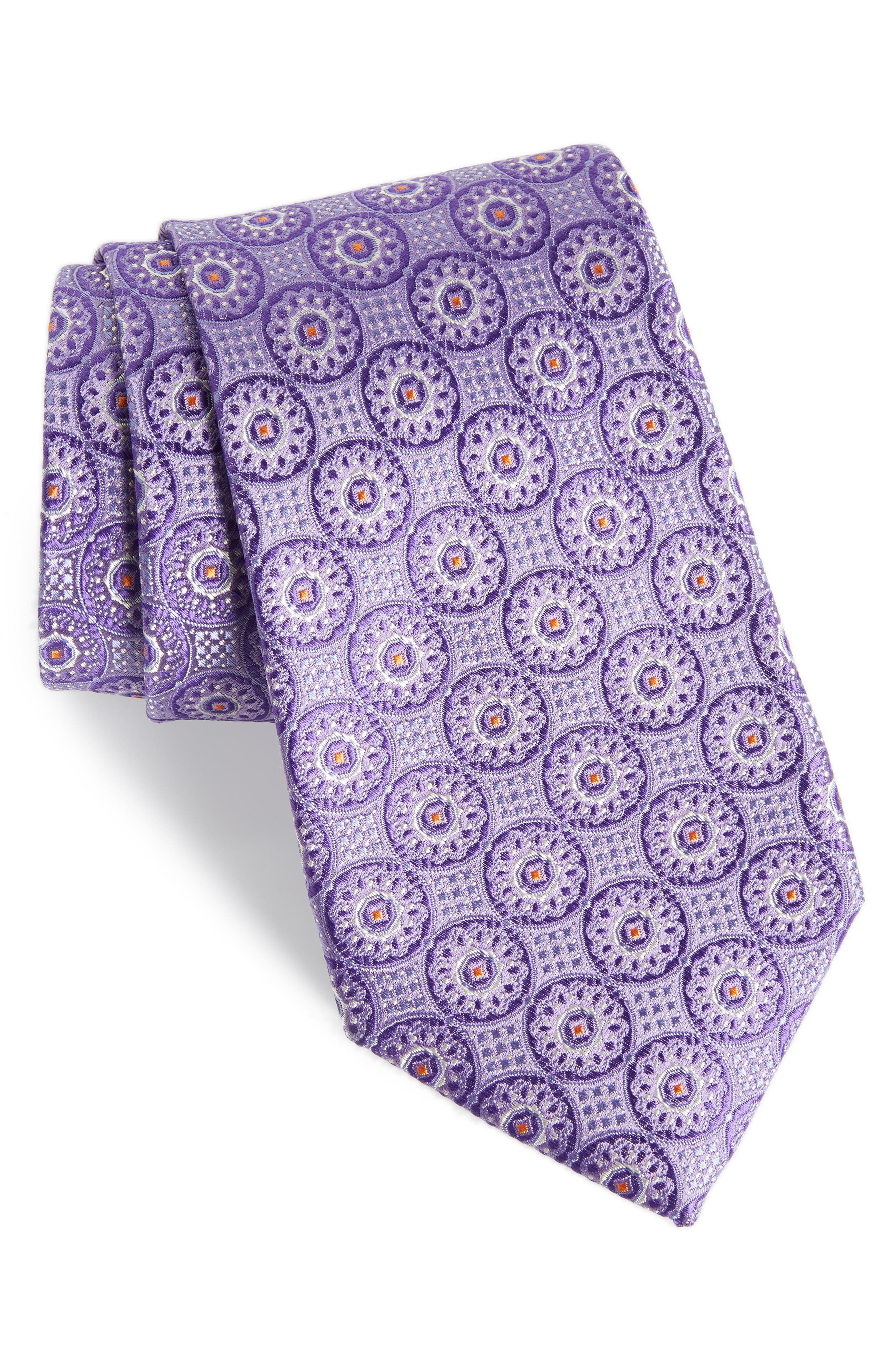 Kaymer Medallion Silk Tie,                             Main thumbnail 1, color,                             Purple