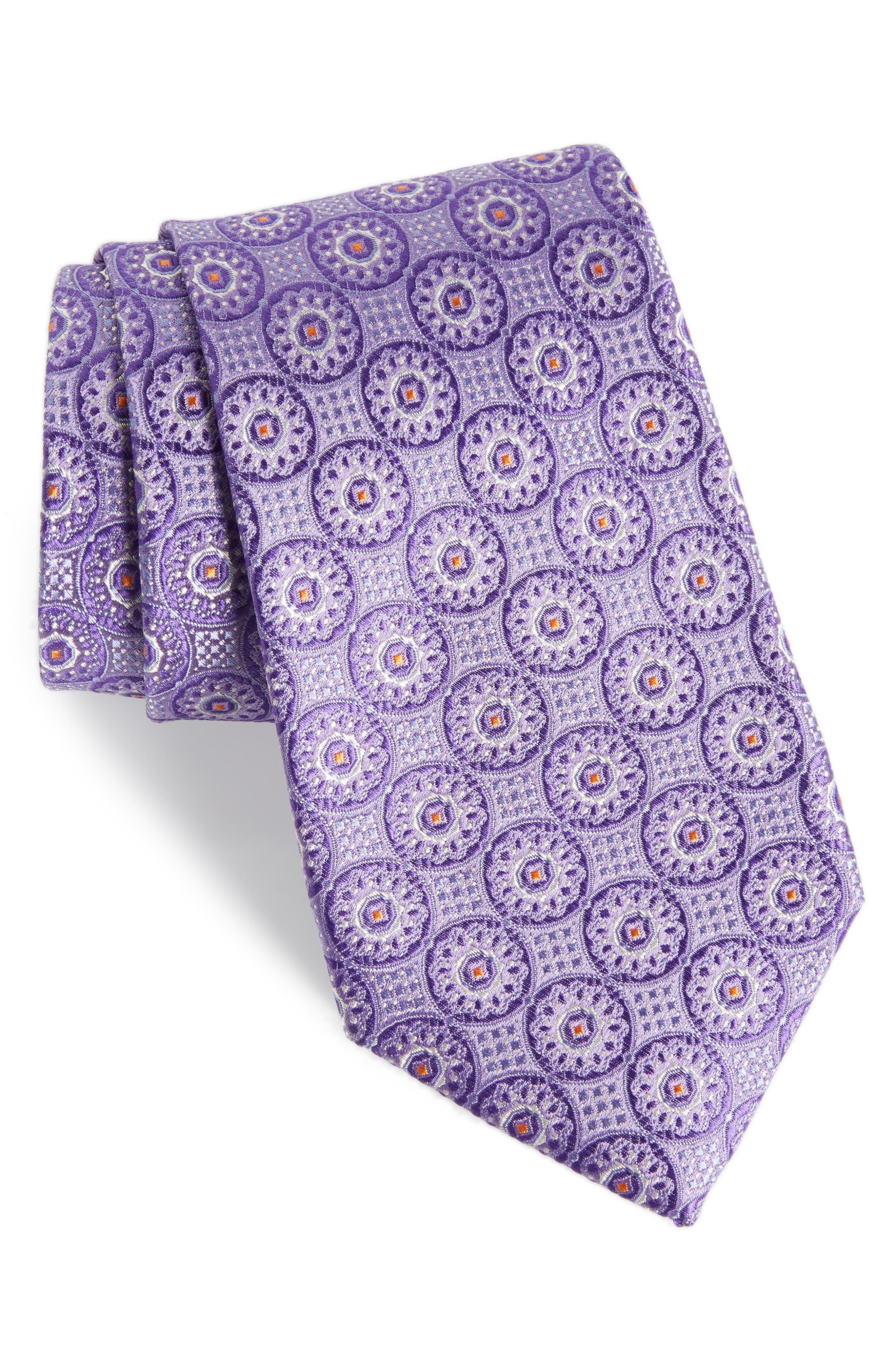 Kaymer Medallion Silk Tie,                         Main,                         color, Purple