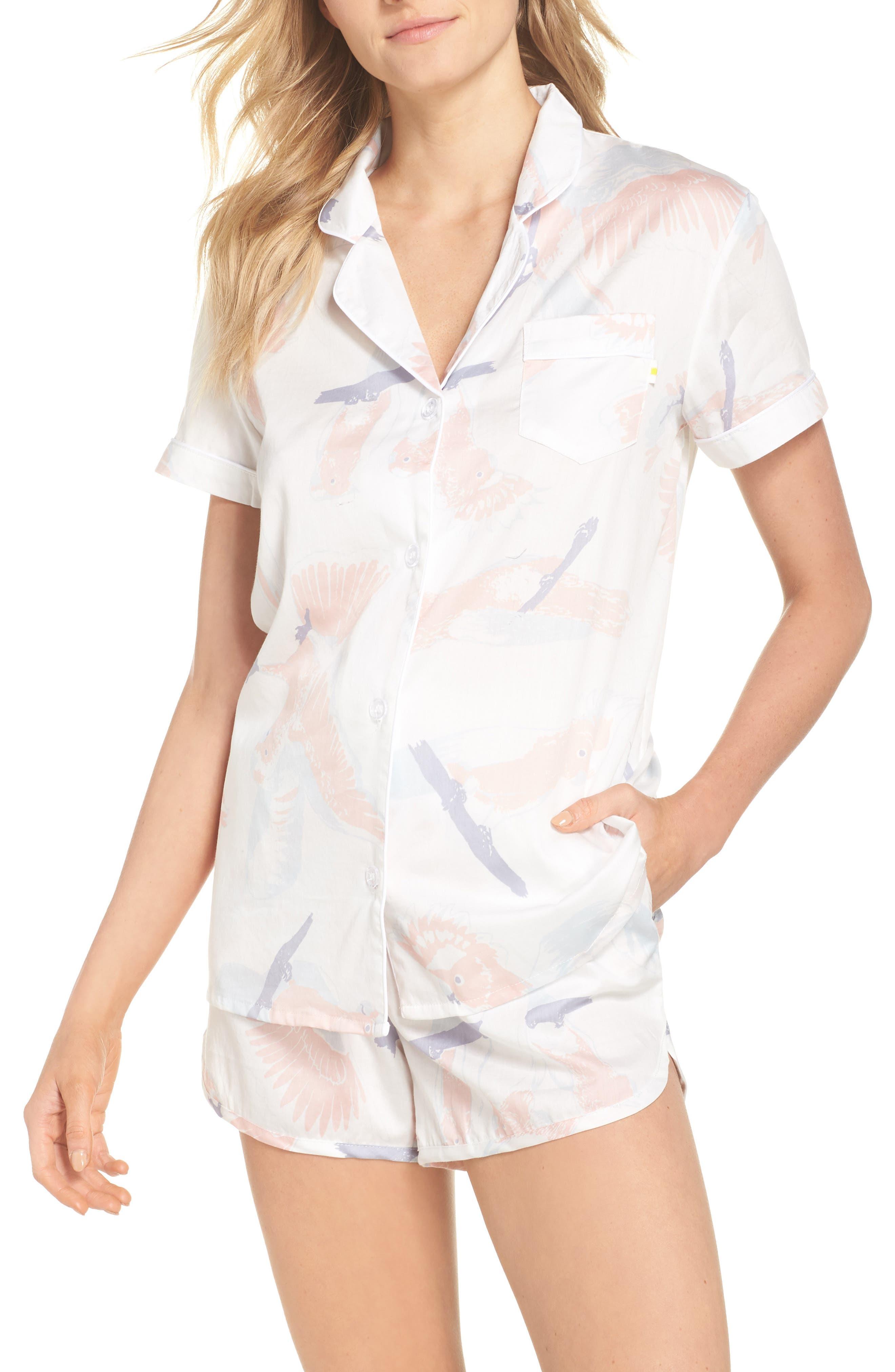 Cockatoos Short Pajamas,                             Main thumbnail 1, color,                             Cockatoos White