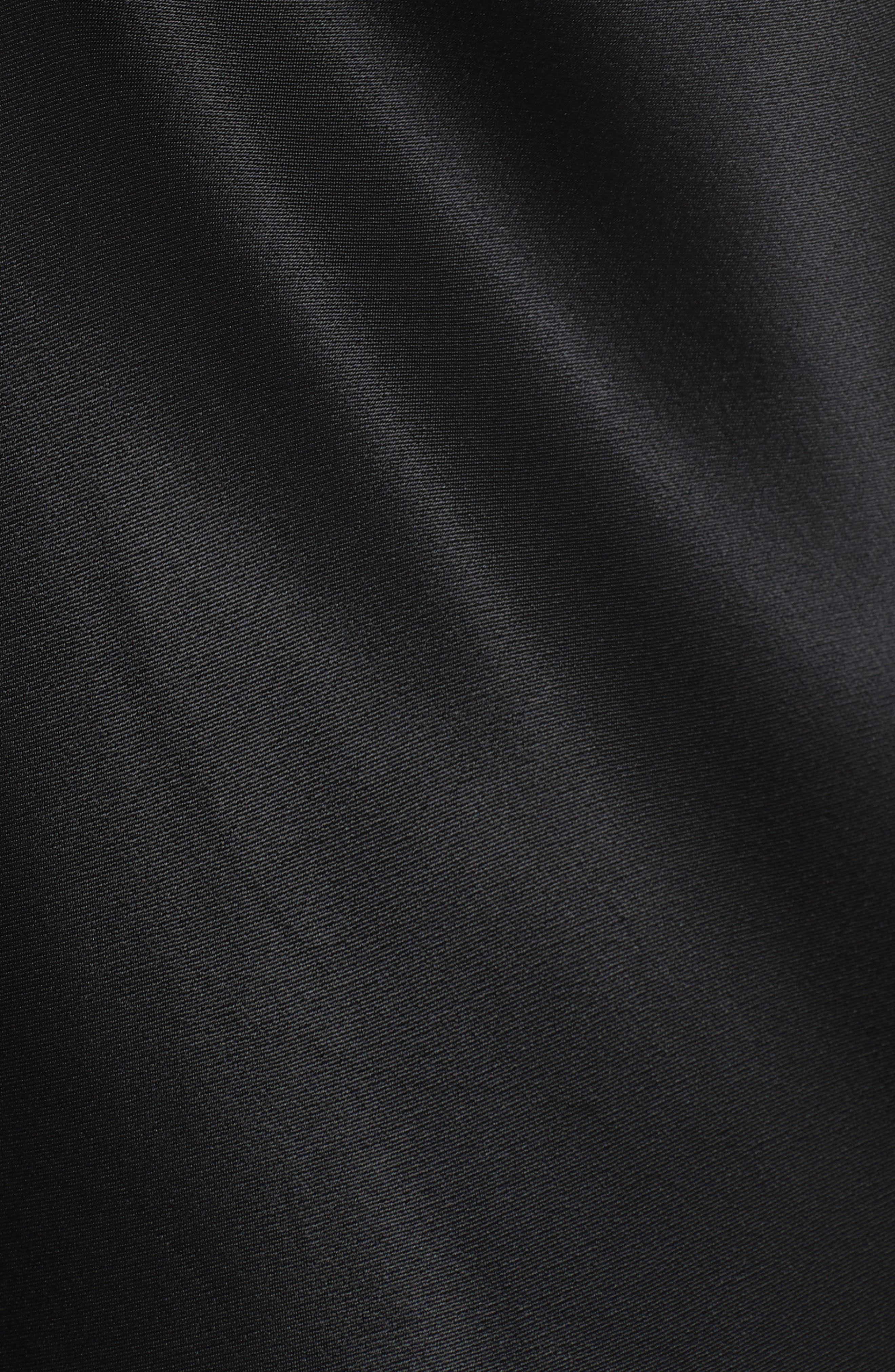 Ruffle Hem Satin Slipdress,                             Alternate thumbnail 6, color,                             Noir