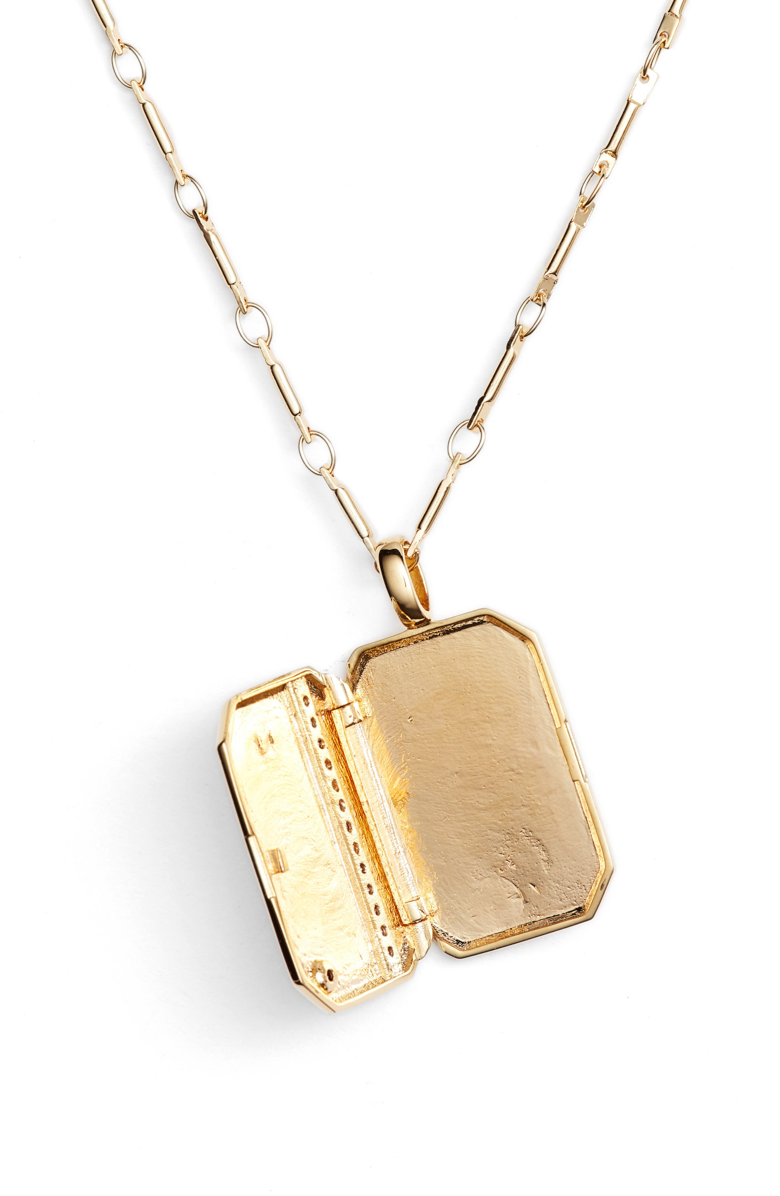 x We Wore What Vertical Crystal Locket Necklace,                             Alternate thumbnail 3, color,                             Gold