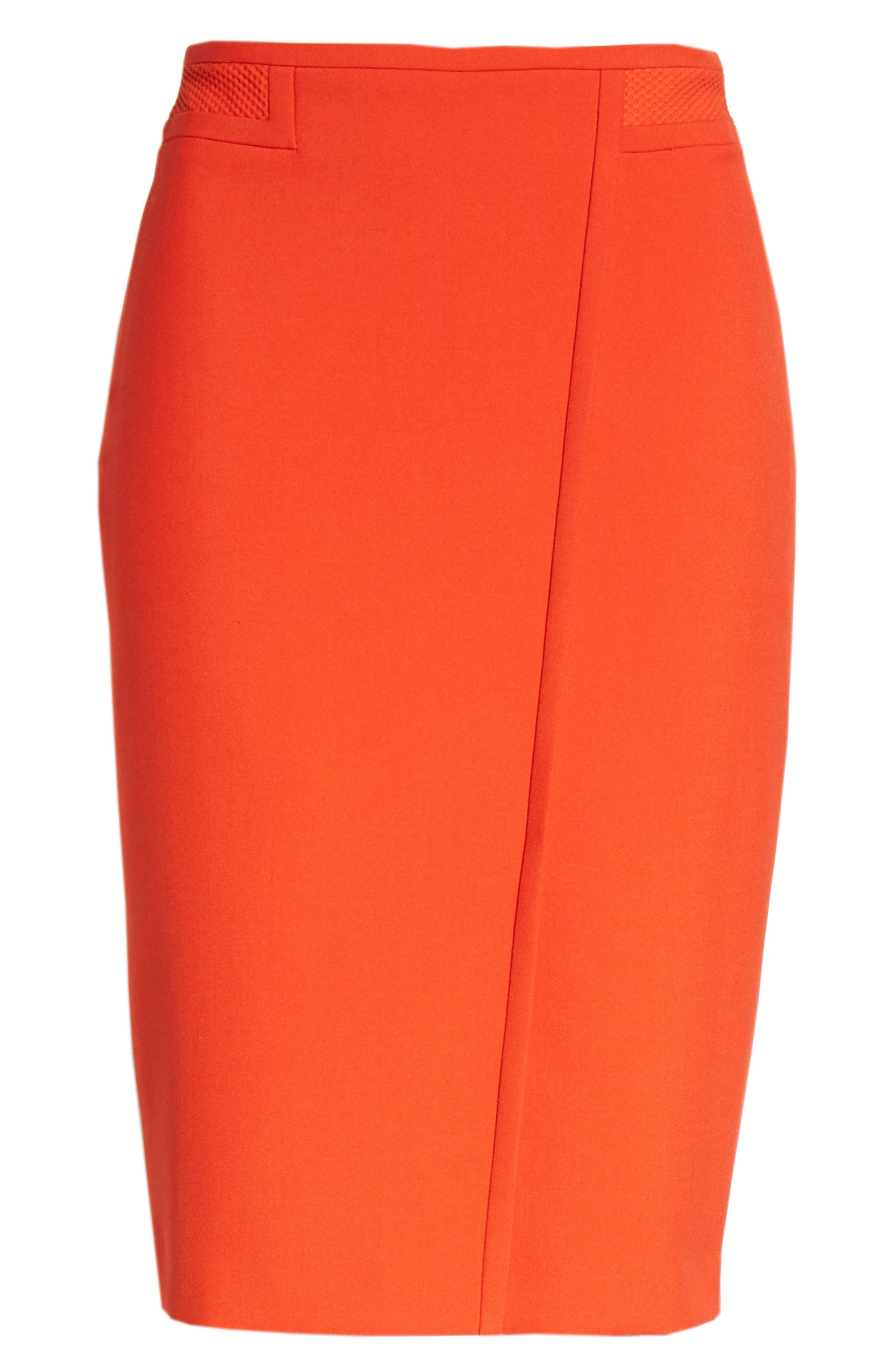 Vadama Ponte Pencil Skirt,                             Alternate thumbnail 6, color,                             Sunset Orange
