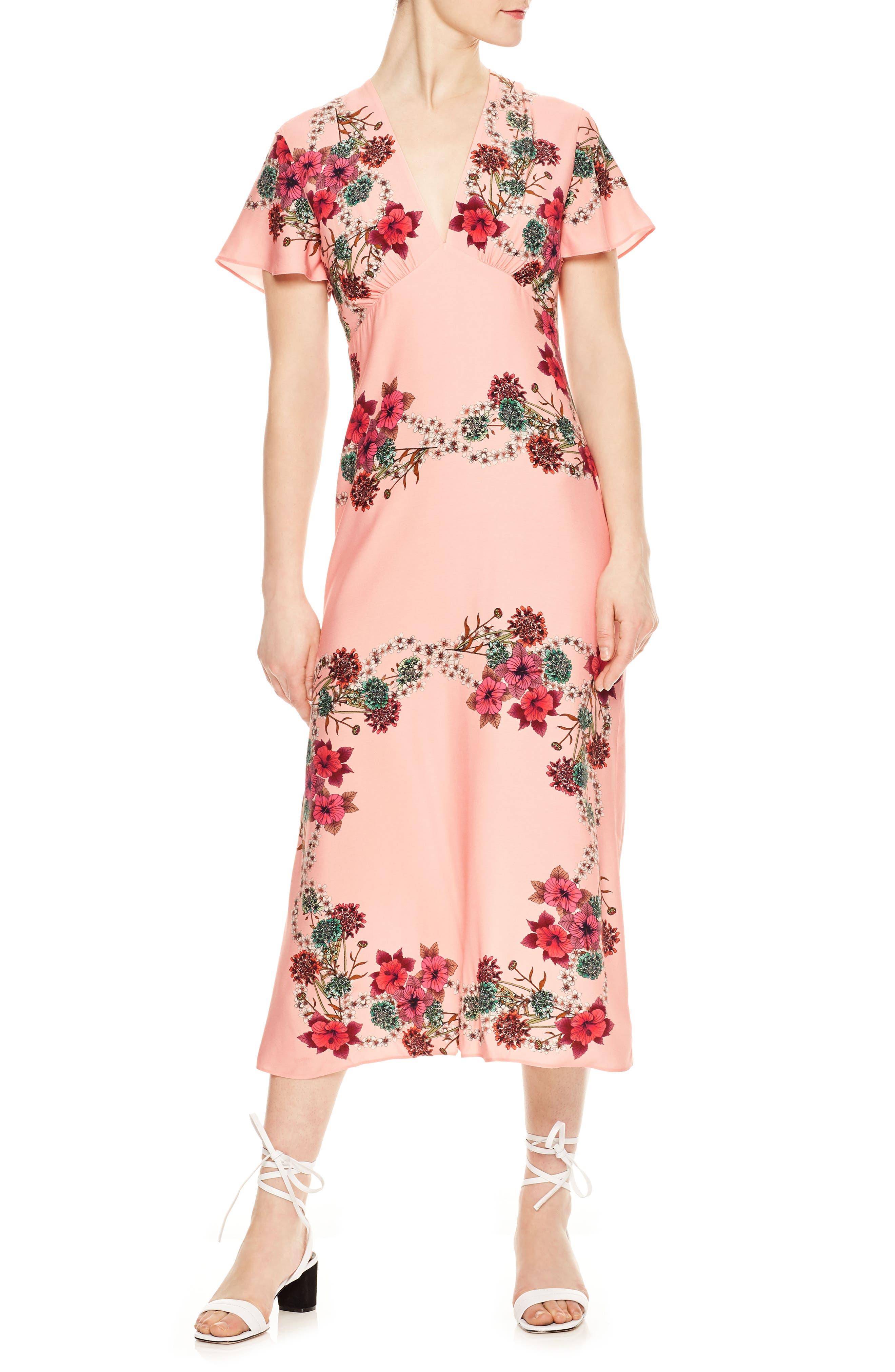 sandro Floral Flutter Sleeve Dress