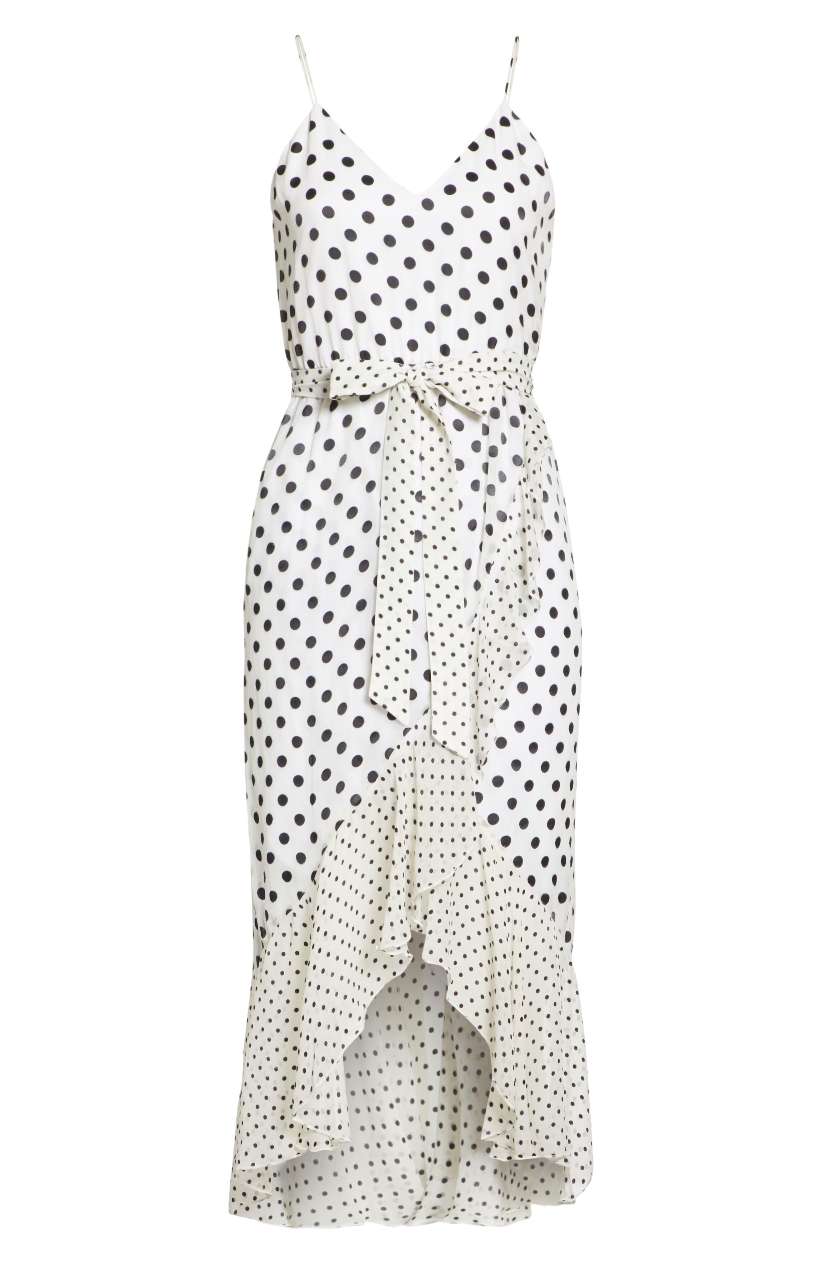 Ruffle Faux Wrap Dress,                             Alternate thumbnail 6, color,                             Soft White Mono Dot
