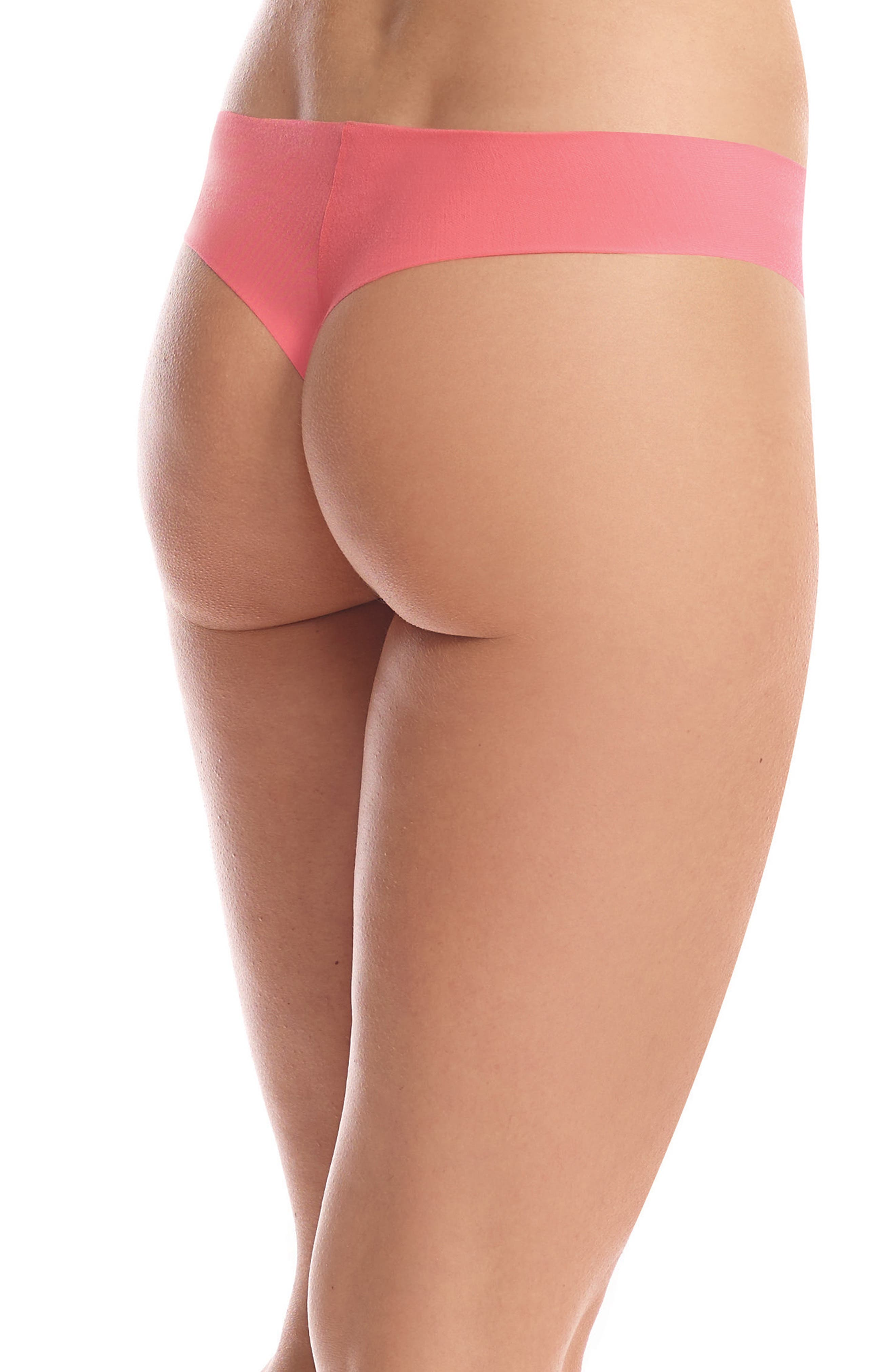 'Butter' Stretch Modal Thong,                             Alternate thumbnail 2, color,                             Coral