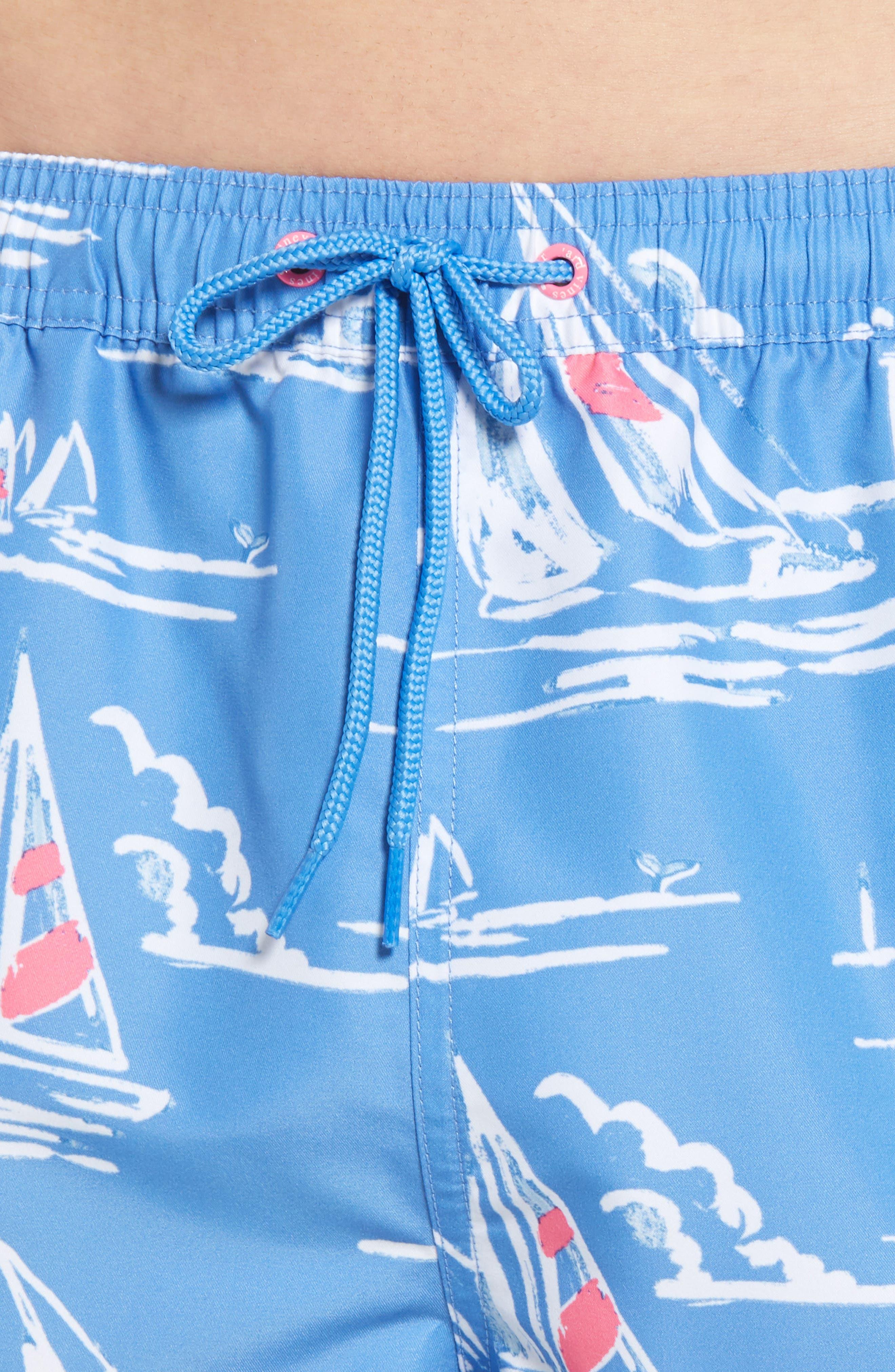Chappy Sailing Scene Swim Trunks,                             Alternate thumbnail 4, color,                             Cornflower