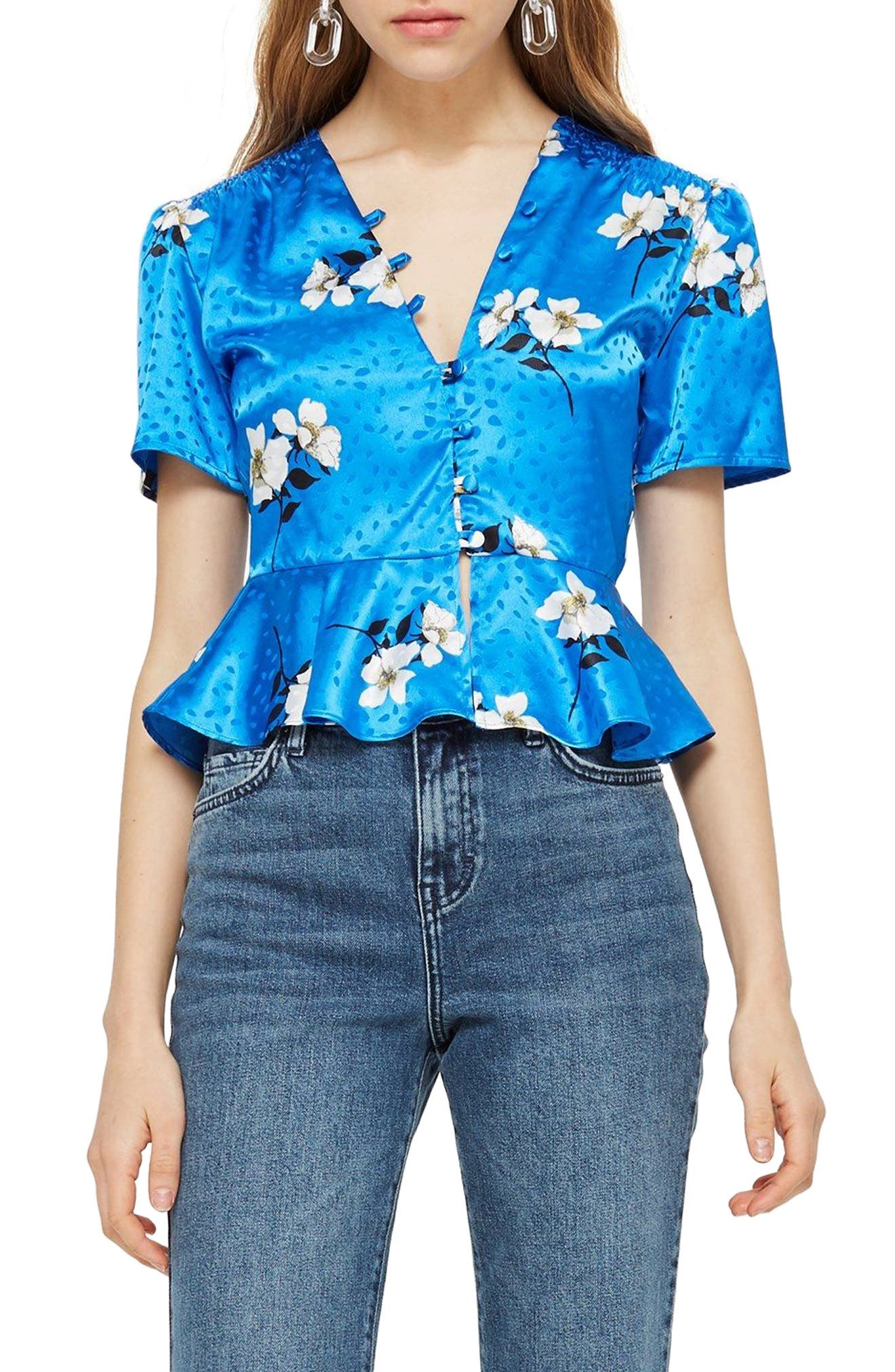 Gemma Jacquard Button Blouse by Topshop