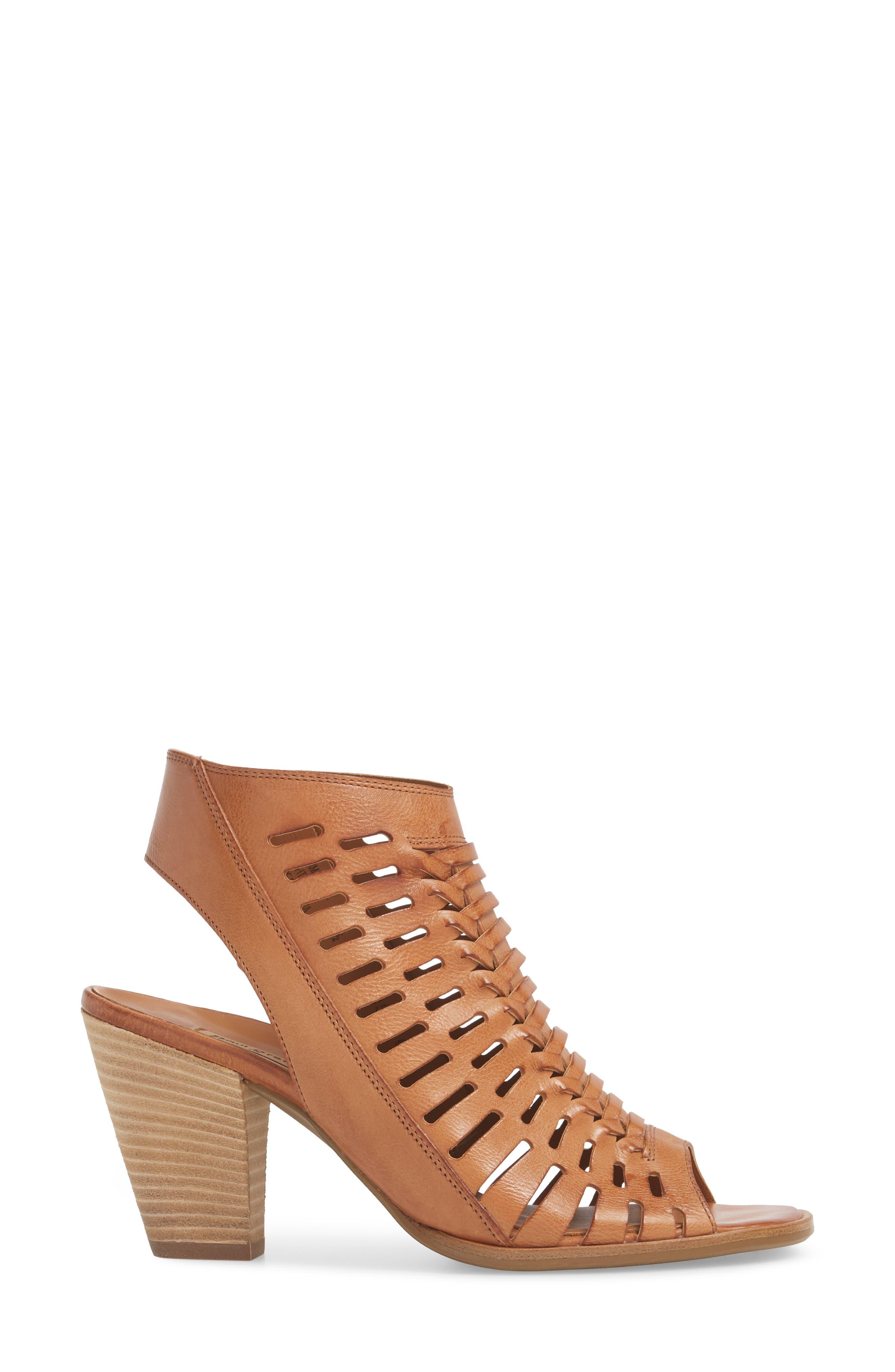 Rosa Woven Peep Toe Sandal,                             Alternate thumbnail 3, color,                             Cuoio Leather