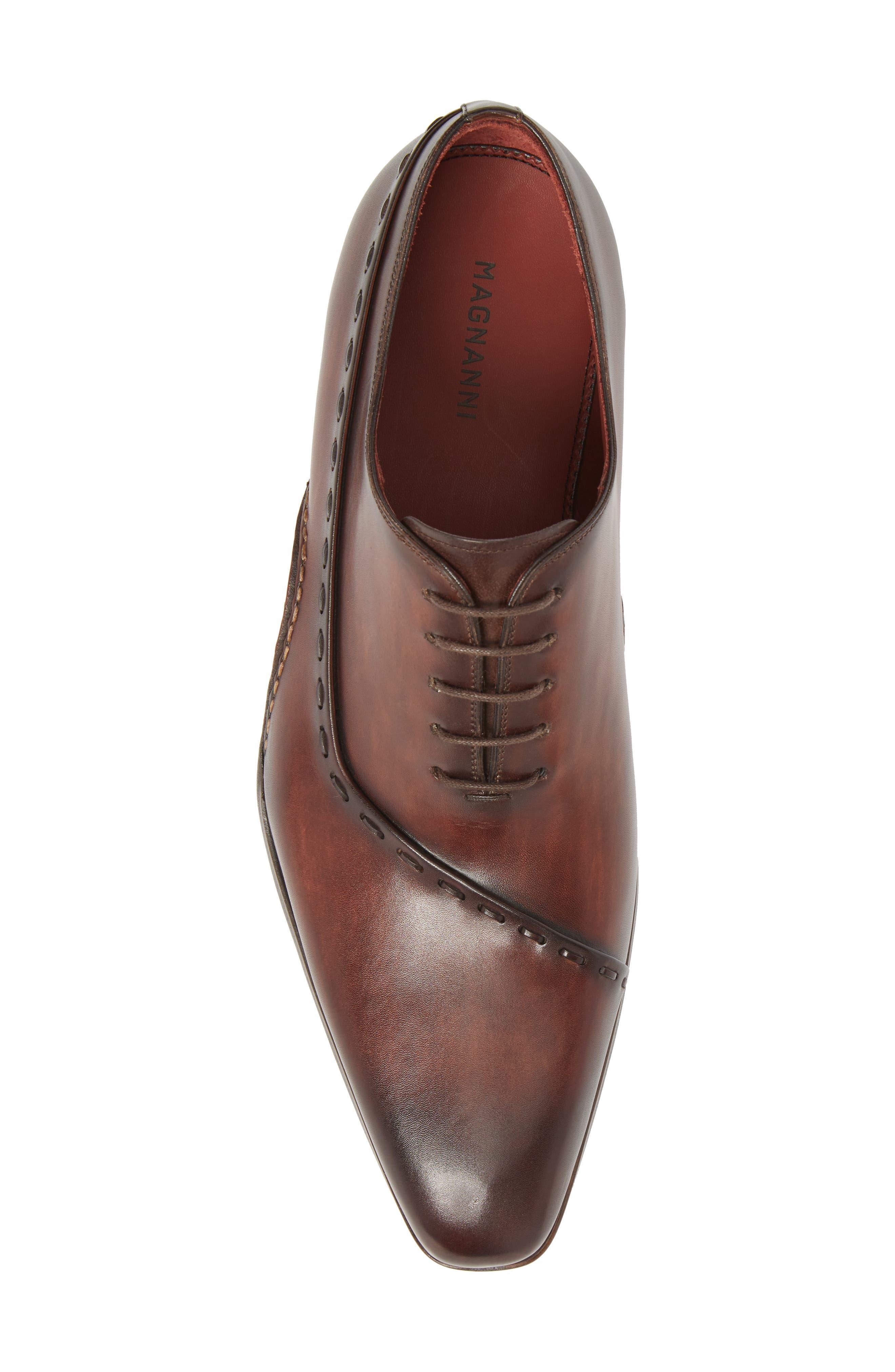 Kobe Asymmetrical Whole Cut Shoe,                             Alternate thumbnail 5, color,                             Mid-Brown Leather