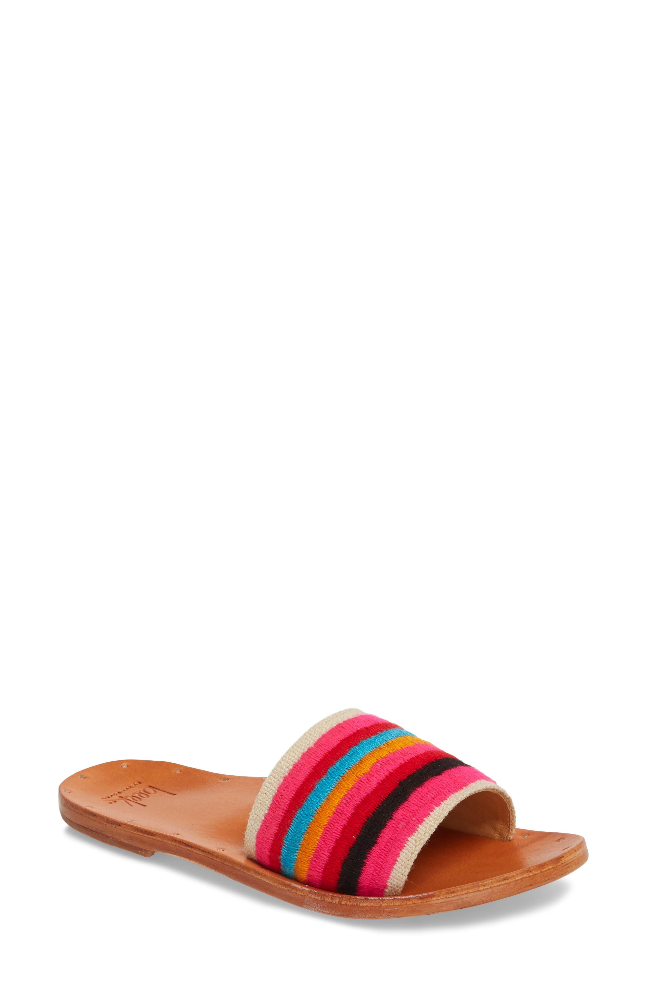 Lovebird Embroidered Slide Sandal,                         Main,                         color, Multi/ Tan