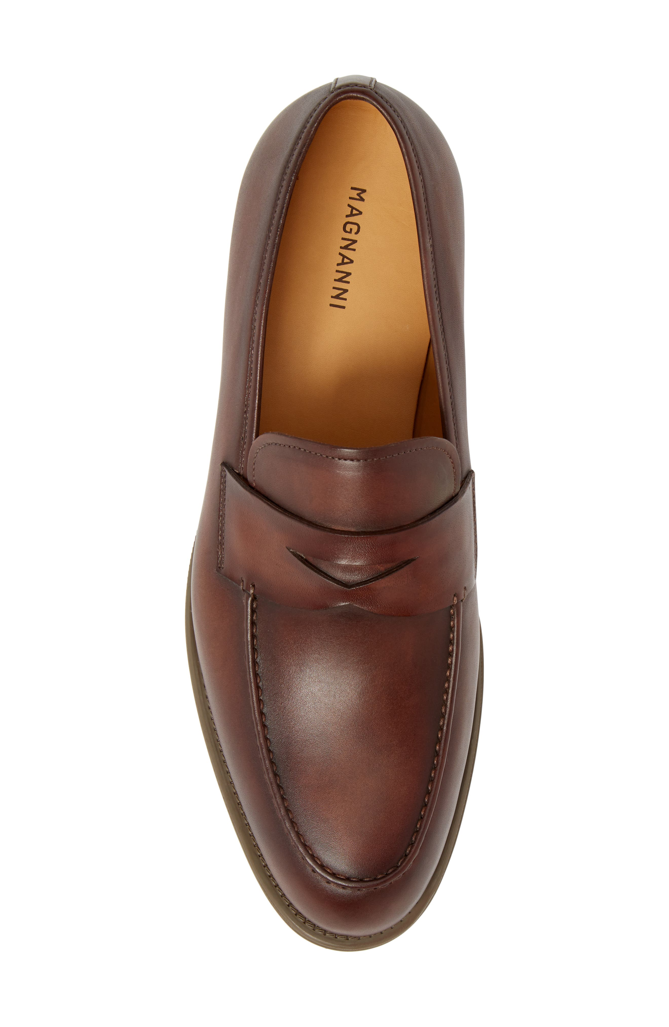 Bernardo Penny Loafer,                             Alternate thumbnail 5, color,                             Brown Leather