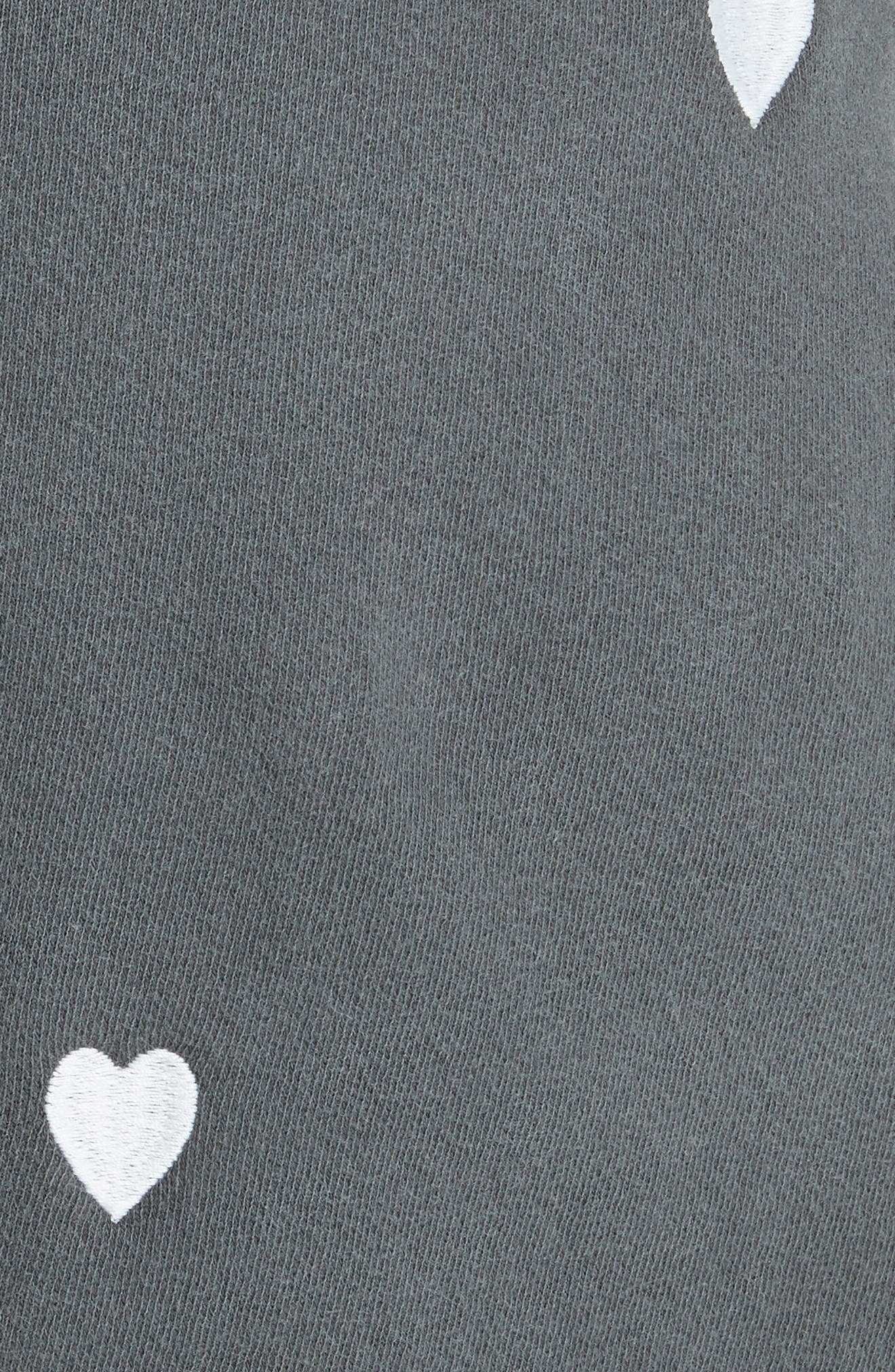 The Sweat Shorts,                             Alternate thumbnail 5, color,                             Washed Black/ White Hearts