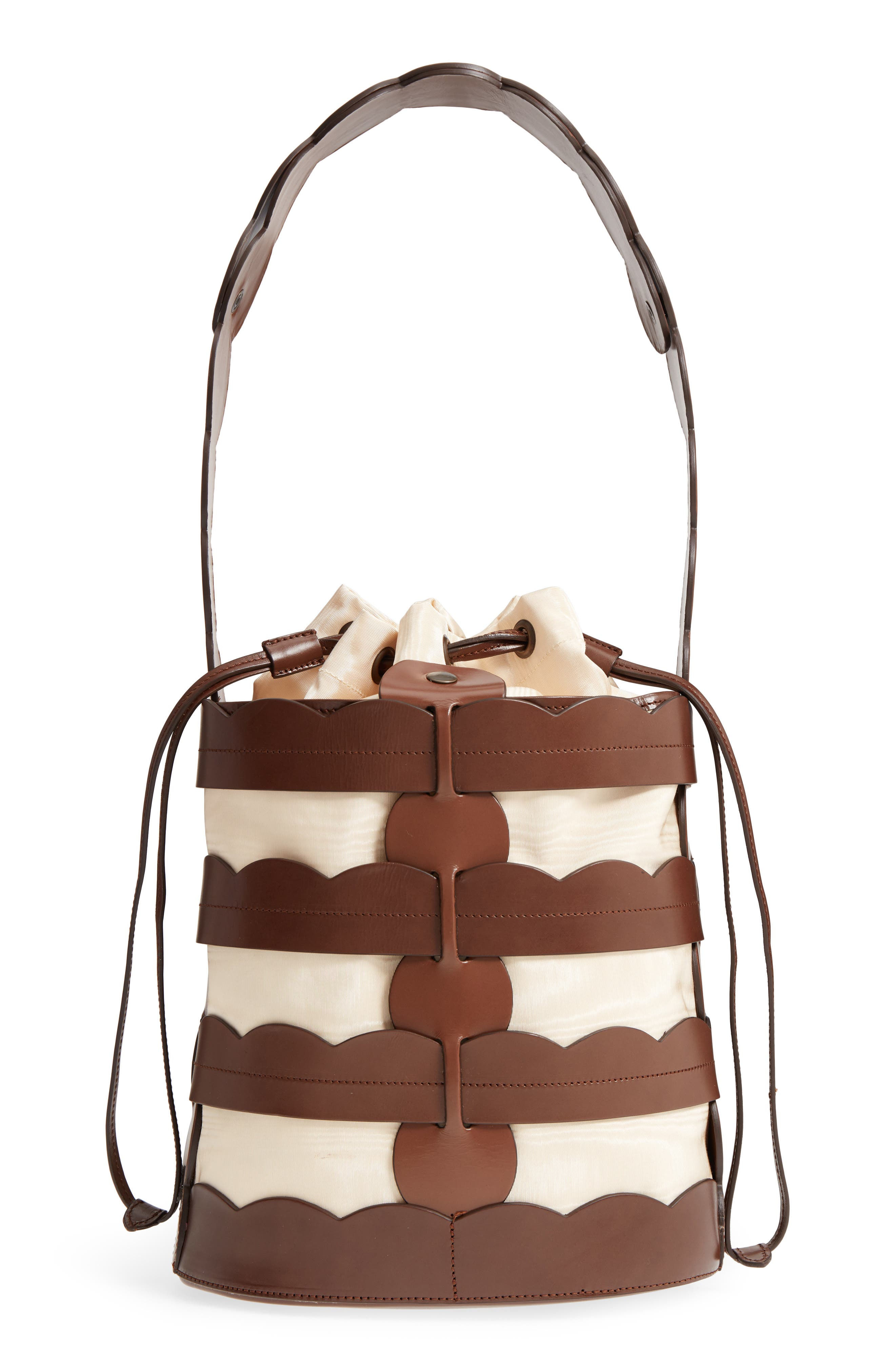 Scallop Hesse Leather Bucket Bag,                         Main,                         color, Tobacco