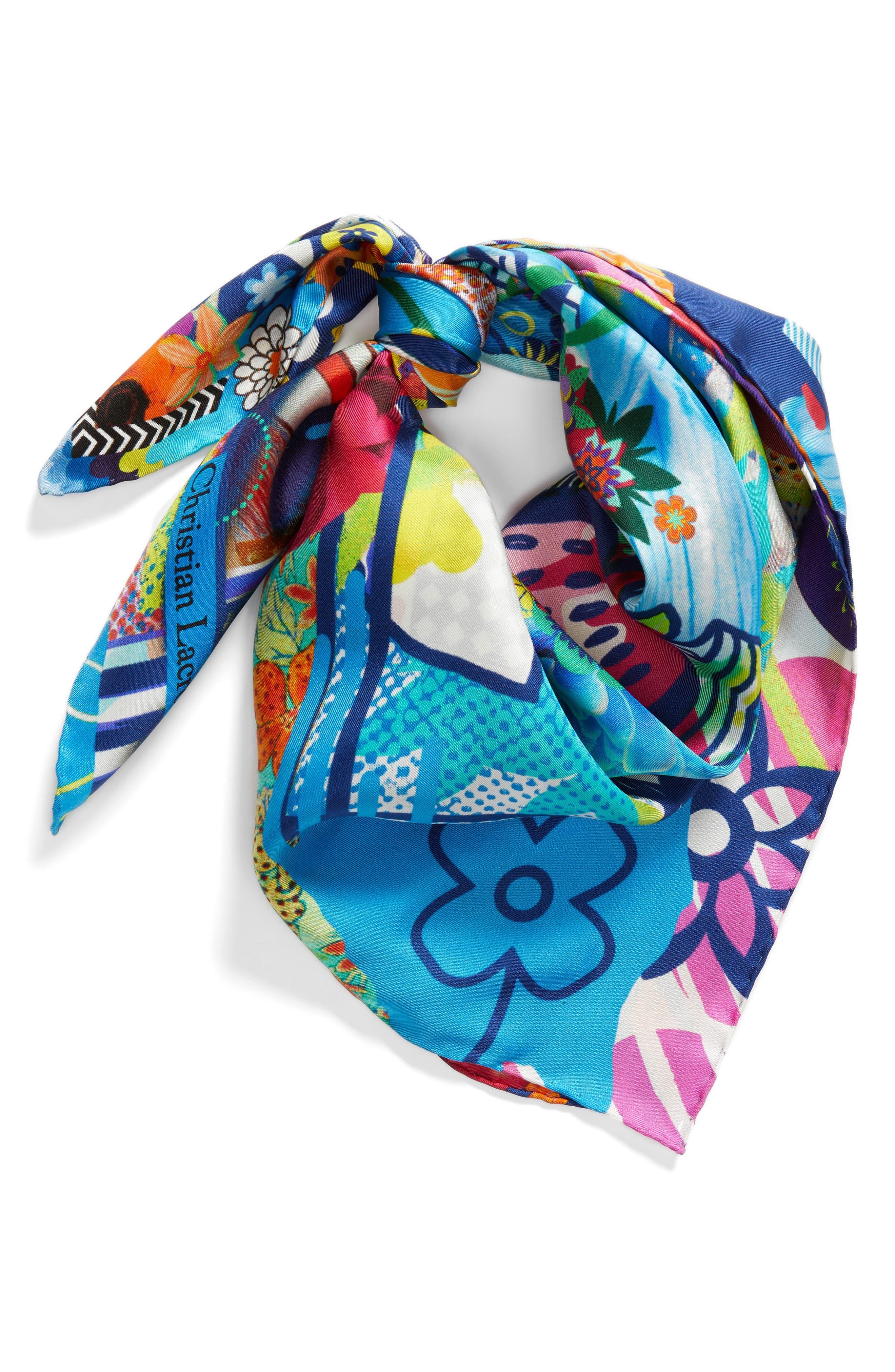 Floral Silk Scarf,                             Alternate thumbnail 3, color,                             Sky Blue
