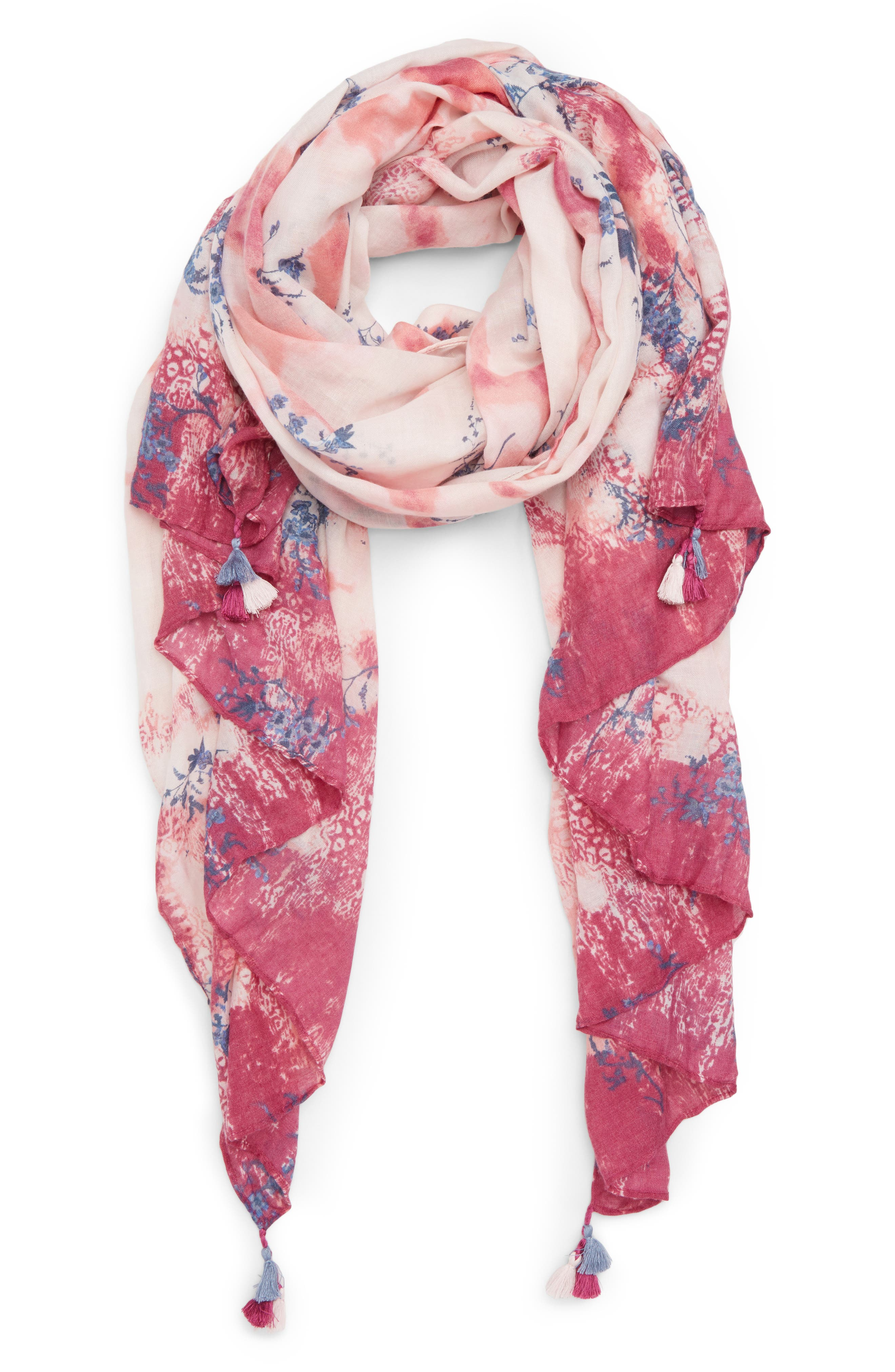 Print Tassel Scarf,                             Main thumbnail 1, color,                             Pink Inky Floral Dyewash