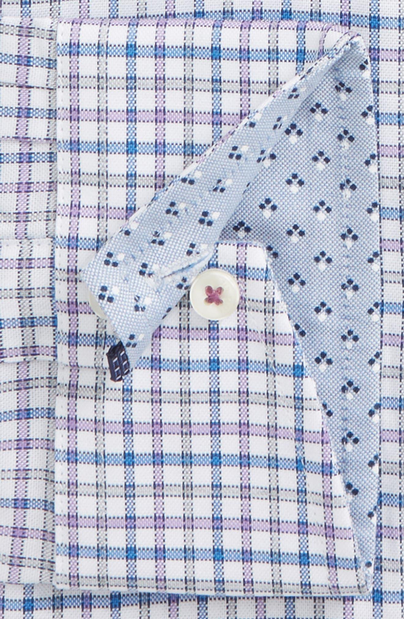 Welsh Trim Fit Check Dress Shirt,                             Alternate thumbnail 5, color,                             Purple