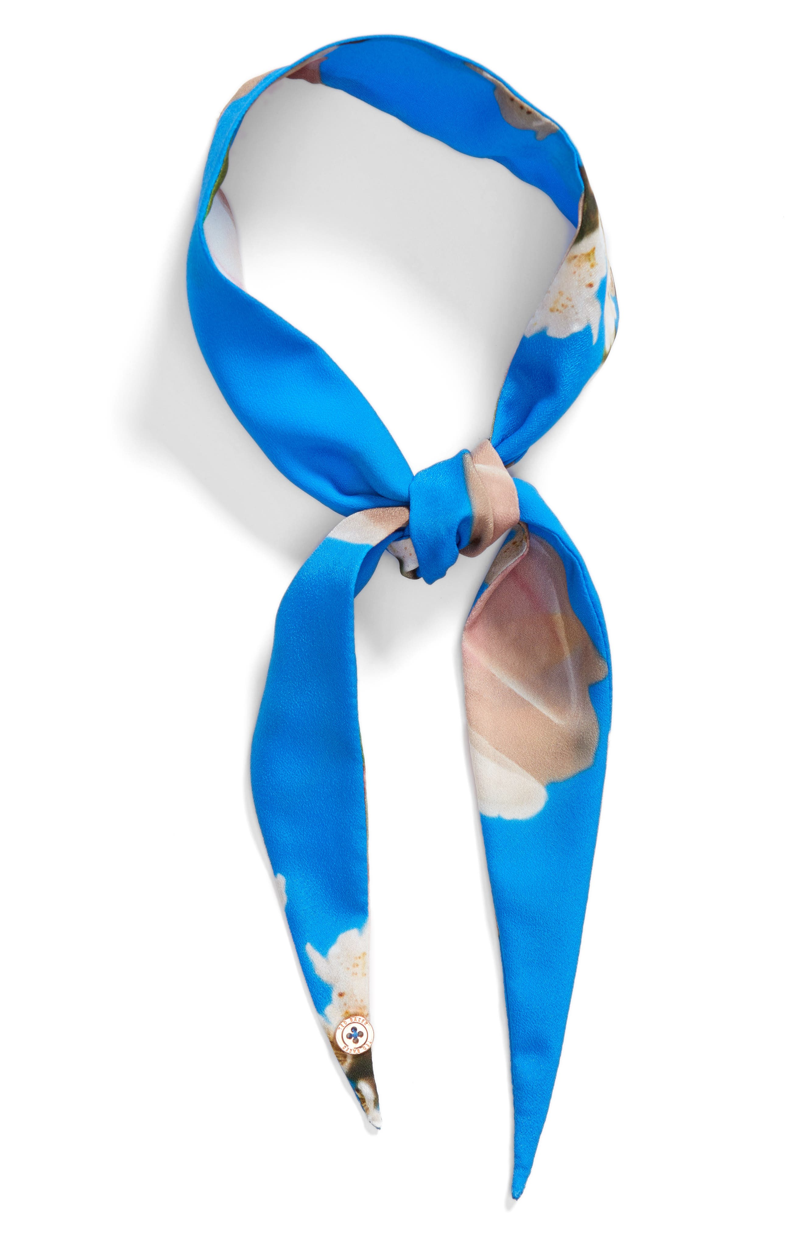 Harmony Floral Print Scarf,                             Alternate thumbnail 2, color,                             Bright Blue