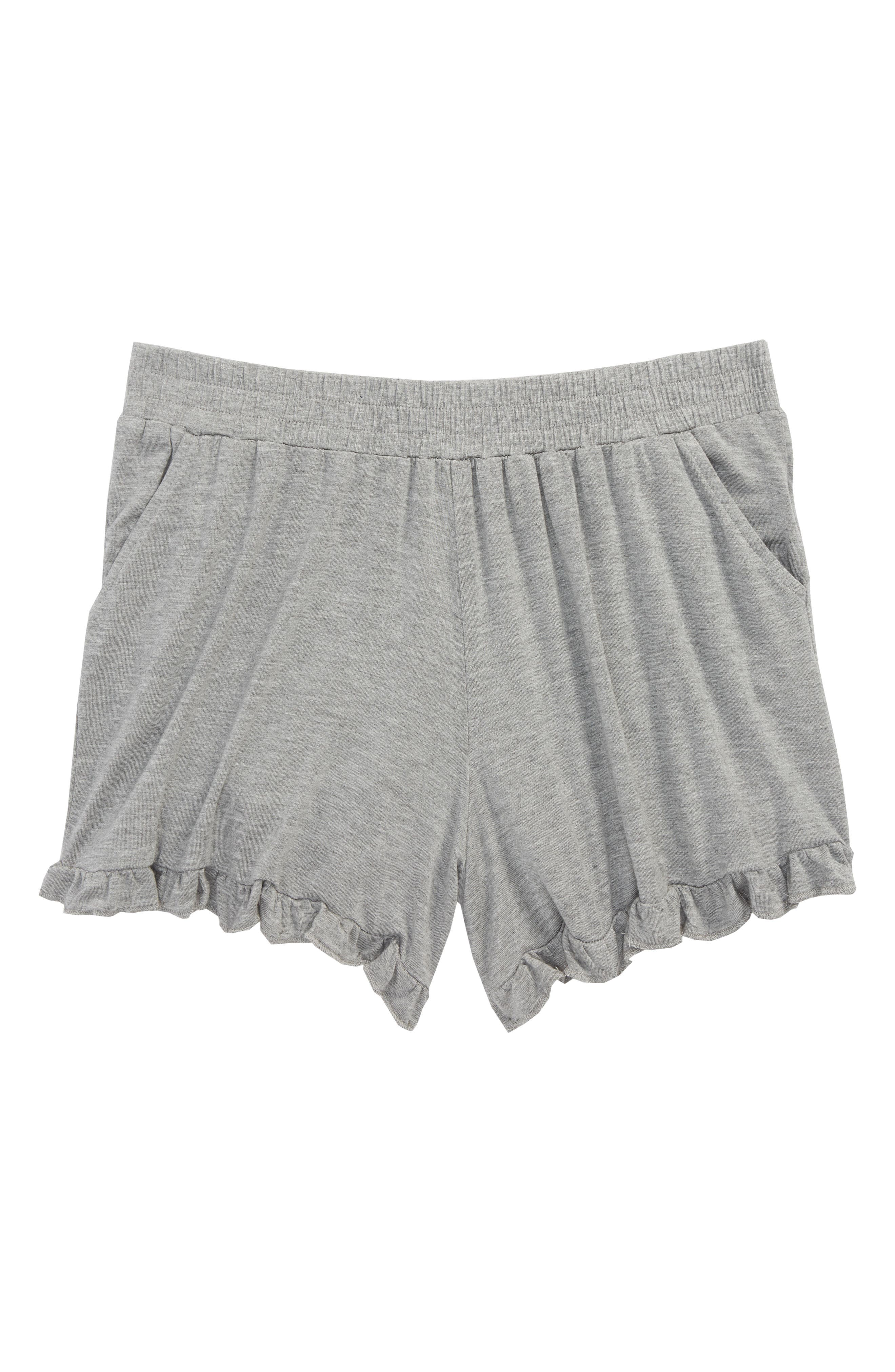 Ruffle Shorts,                             Main thumbnail 1, color,                             Grey Medium Heather