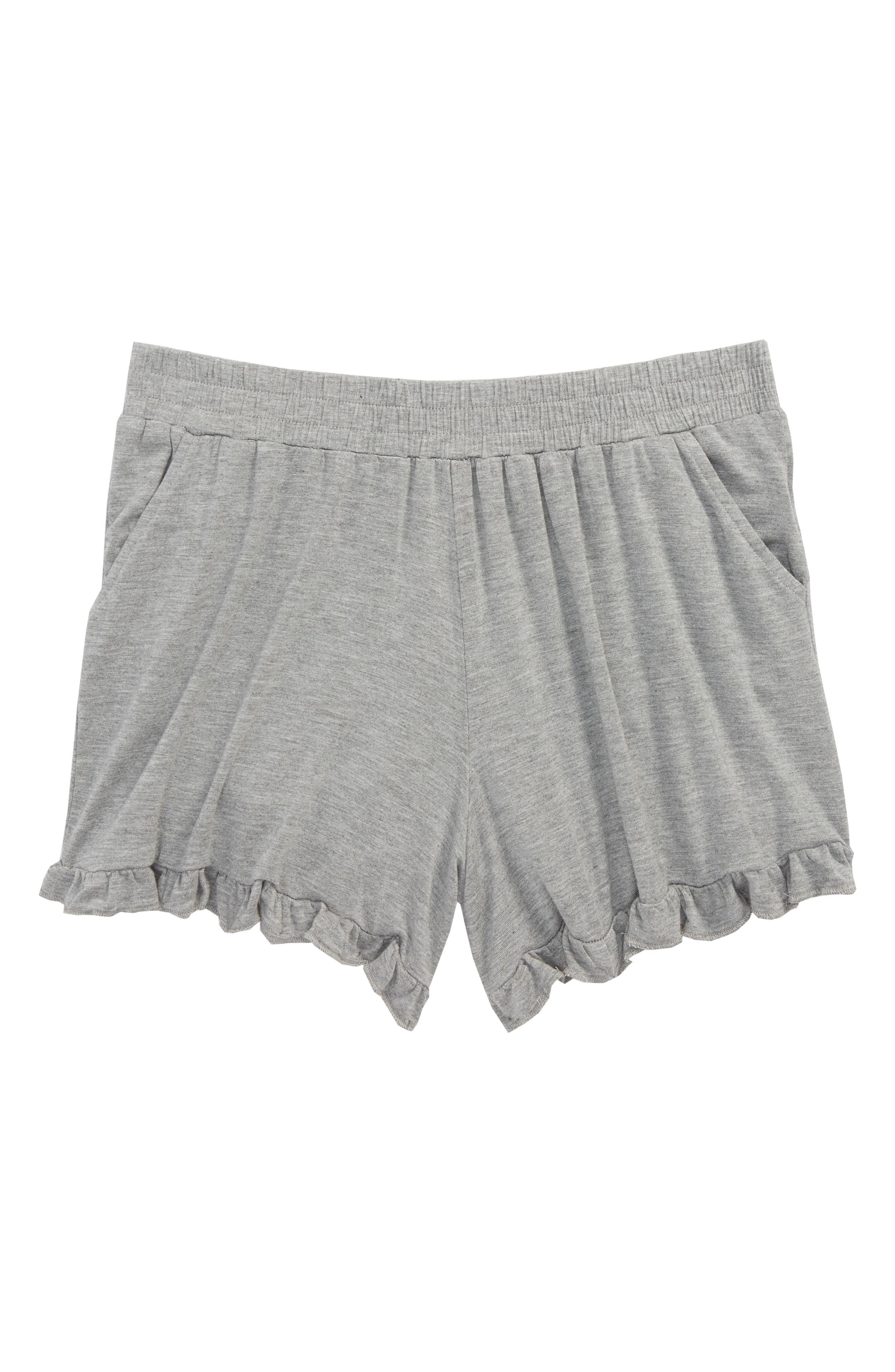 Ruffle Shorts,                         Main,                         color, Grey Medium Heather