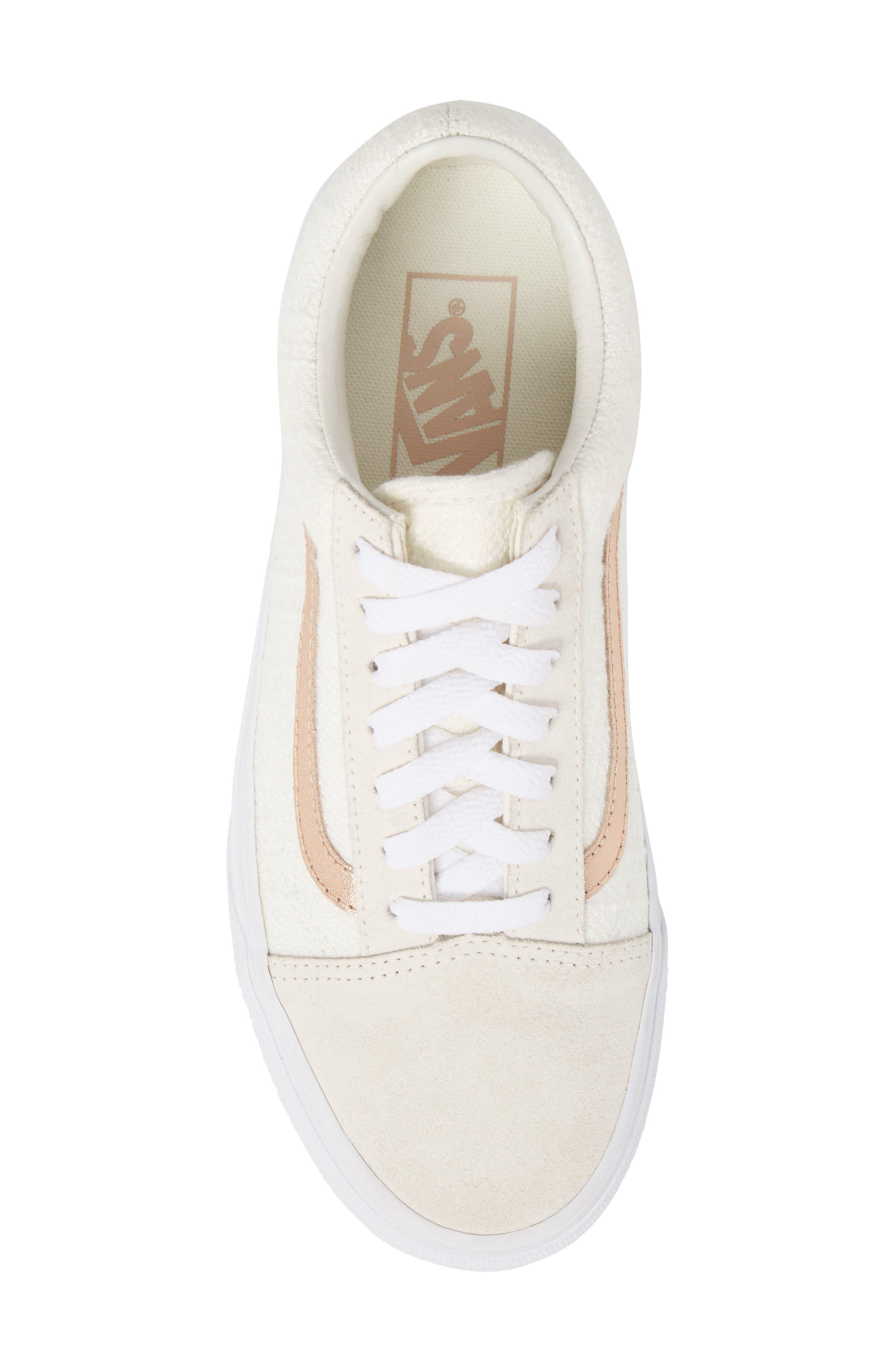 Old Skool Sneaker,                             Alternate thumbnail 5, color,                             Blanc De Blanc/ Rose Gold
