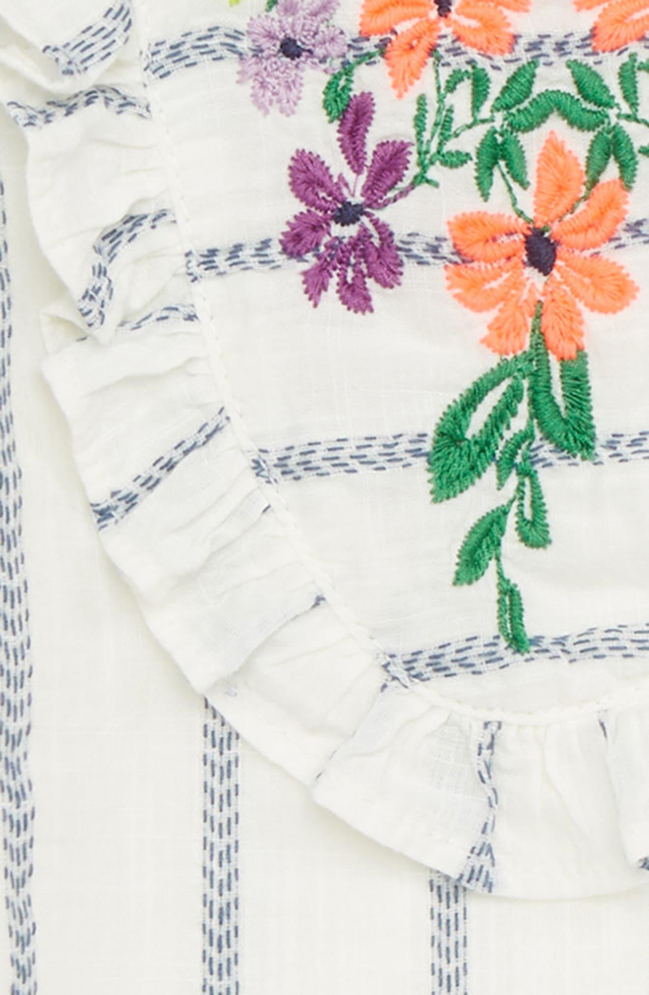 Embroidered Ruffle Dress,                             Alternate thumbnail 2, color,                             White- Blue Stripe