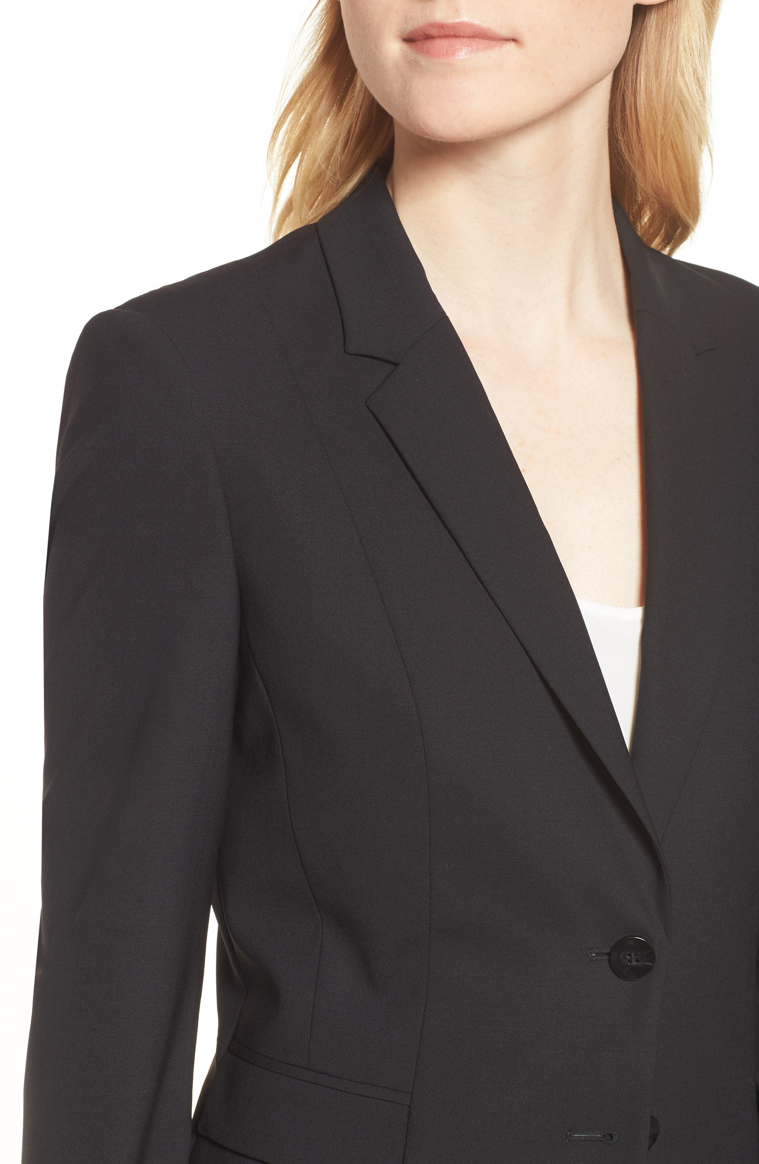 Jaru Stretch Wool Suit Jacket,                             Alternate thumbnail 4, color,                             Black
