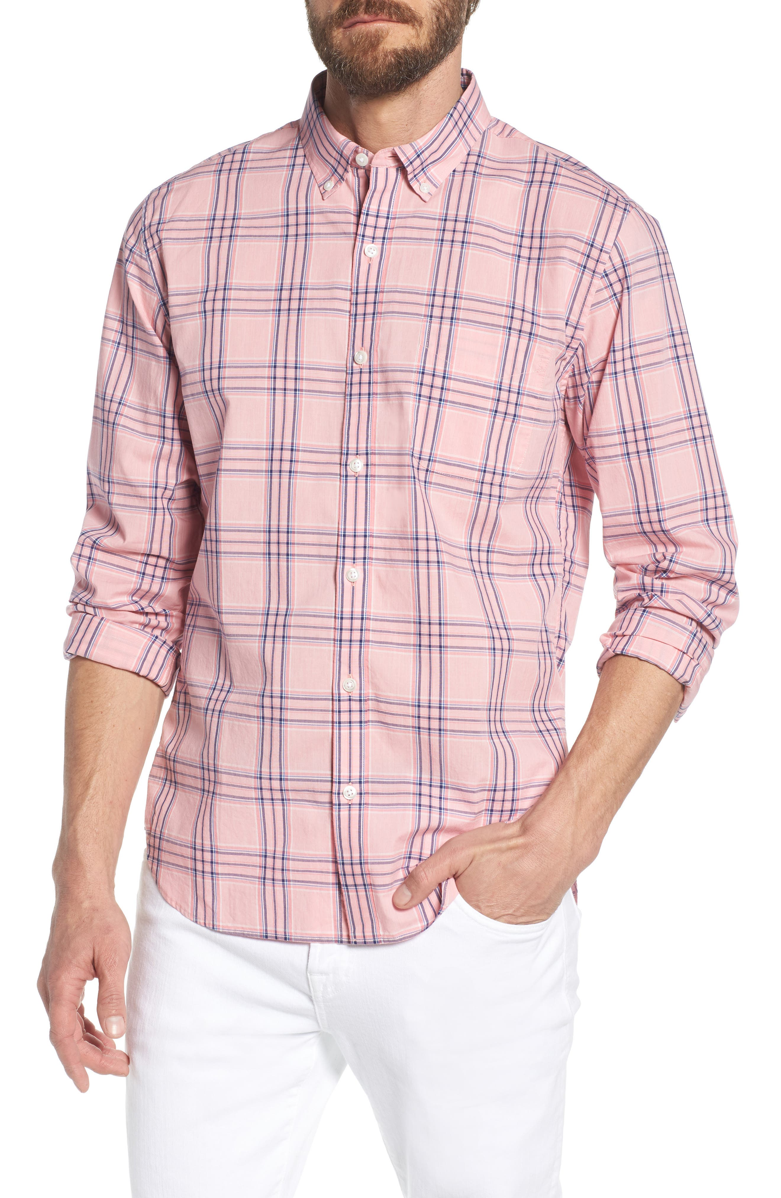 Summerweight Slim Fit Check Sport Shirt,                         Main,                         color, Pearson Check - Peony Coral