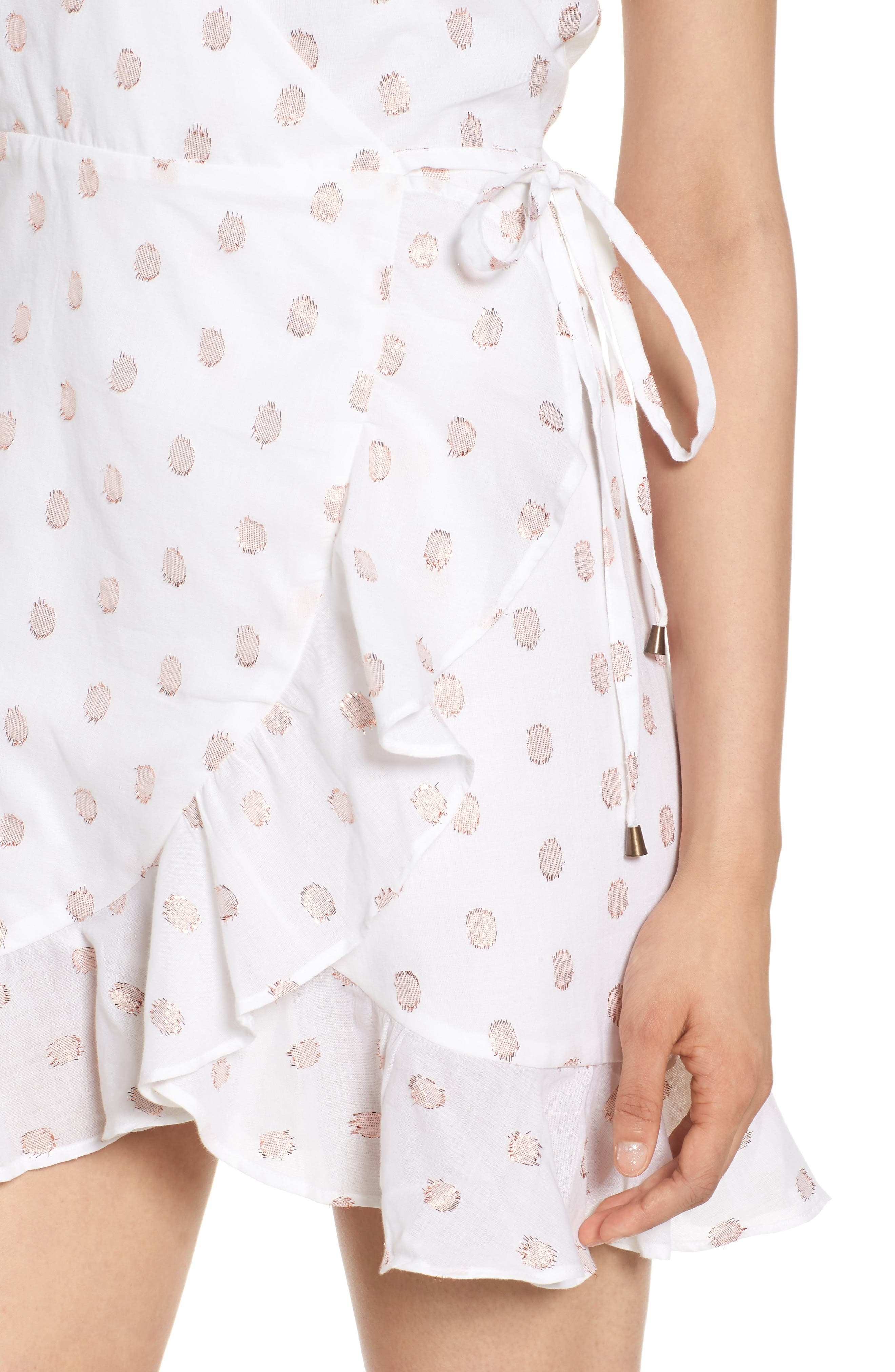 Gigi Wrap Dress,                             Alternate thumbnail 4, color,                             Rose Gold