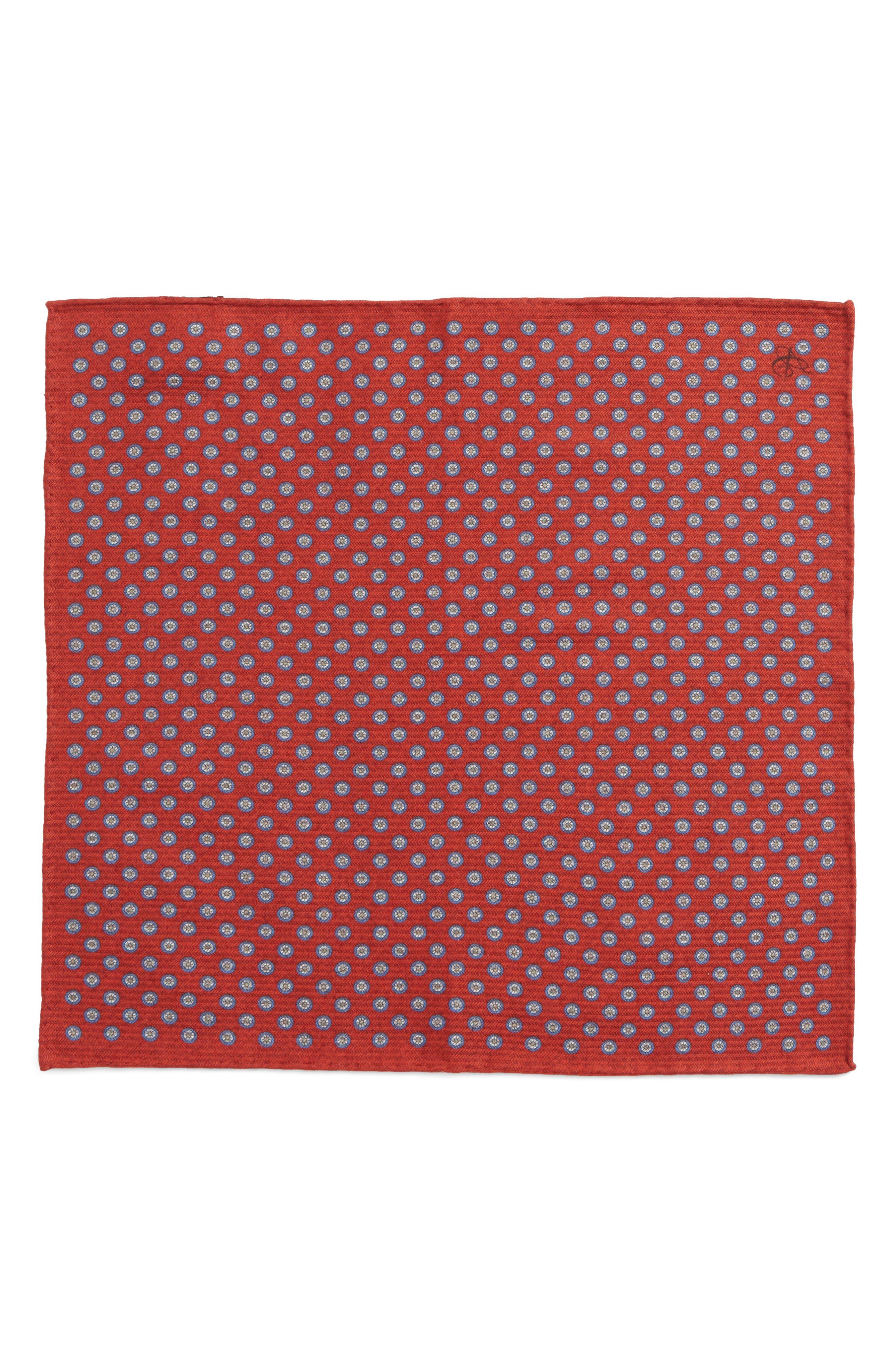 Medallion Pocket Square,                             Alternate thumbnail 2, color,                             Red