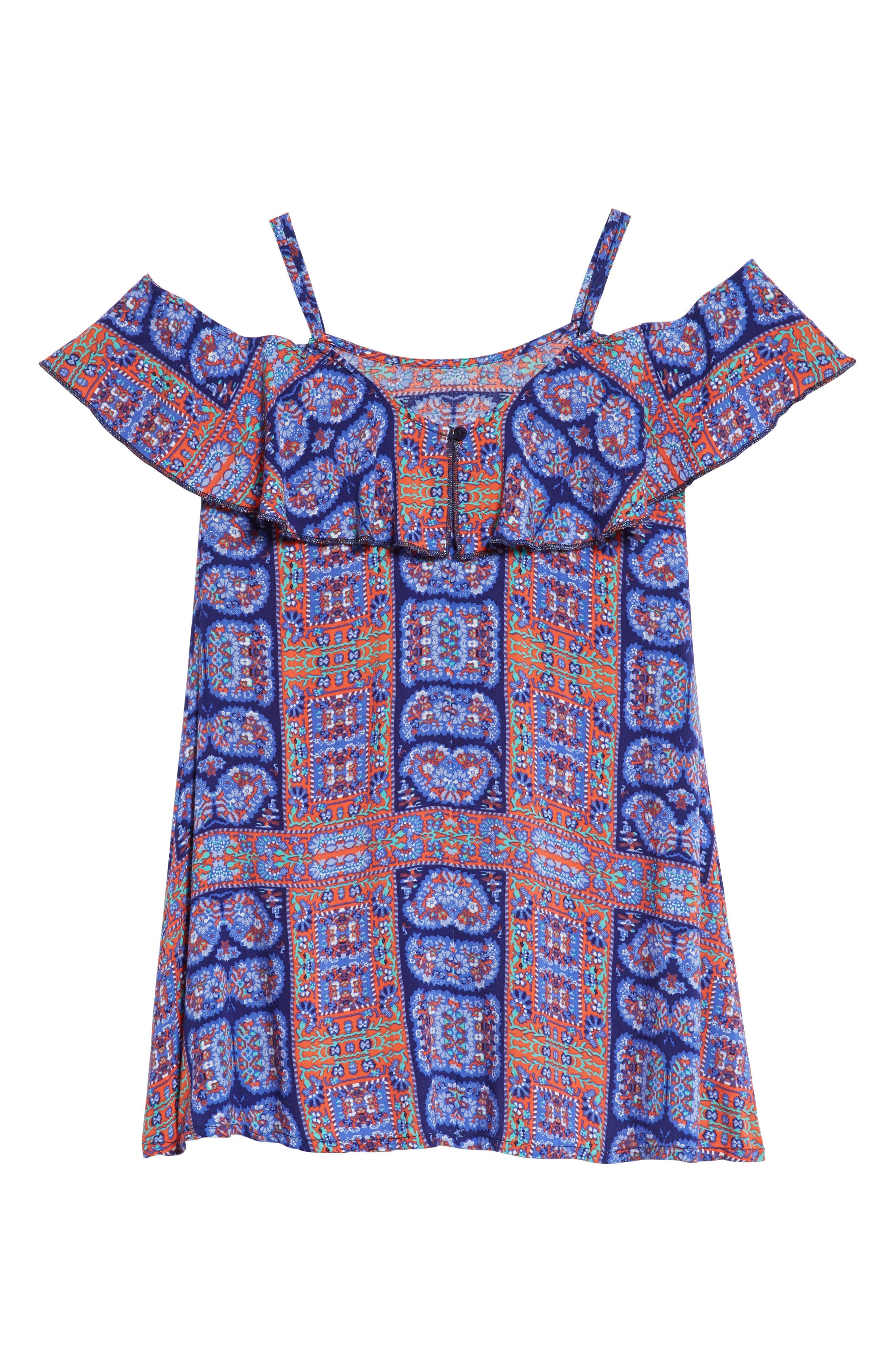 Off-Shoulder Ruffle Dress,                             Alternate thumbnail 2, color,                             Navy Ribbon Framed Floral