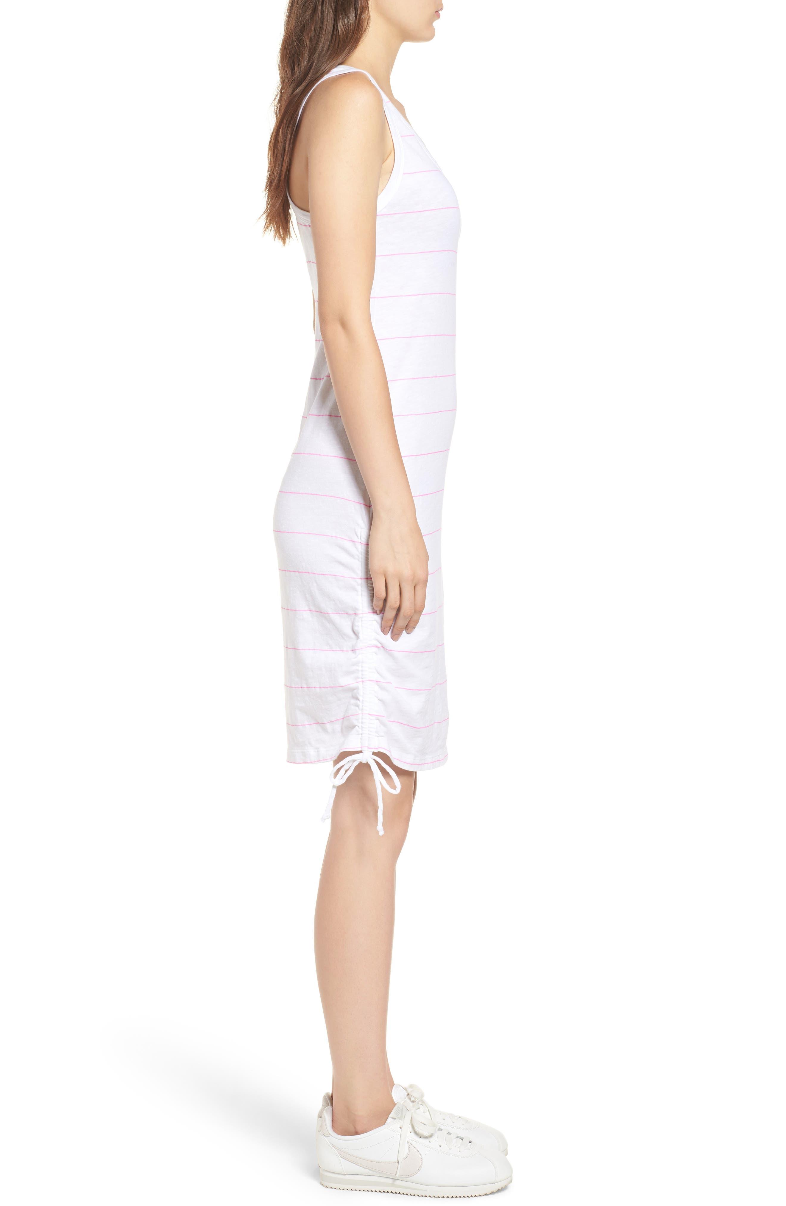 Shirred Racerback Dress,                             Alternate thumbnail 3, color,                             White