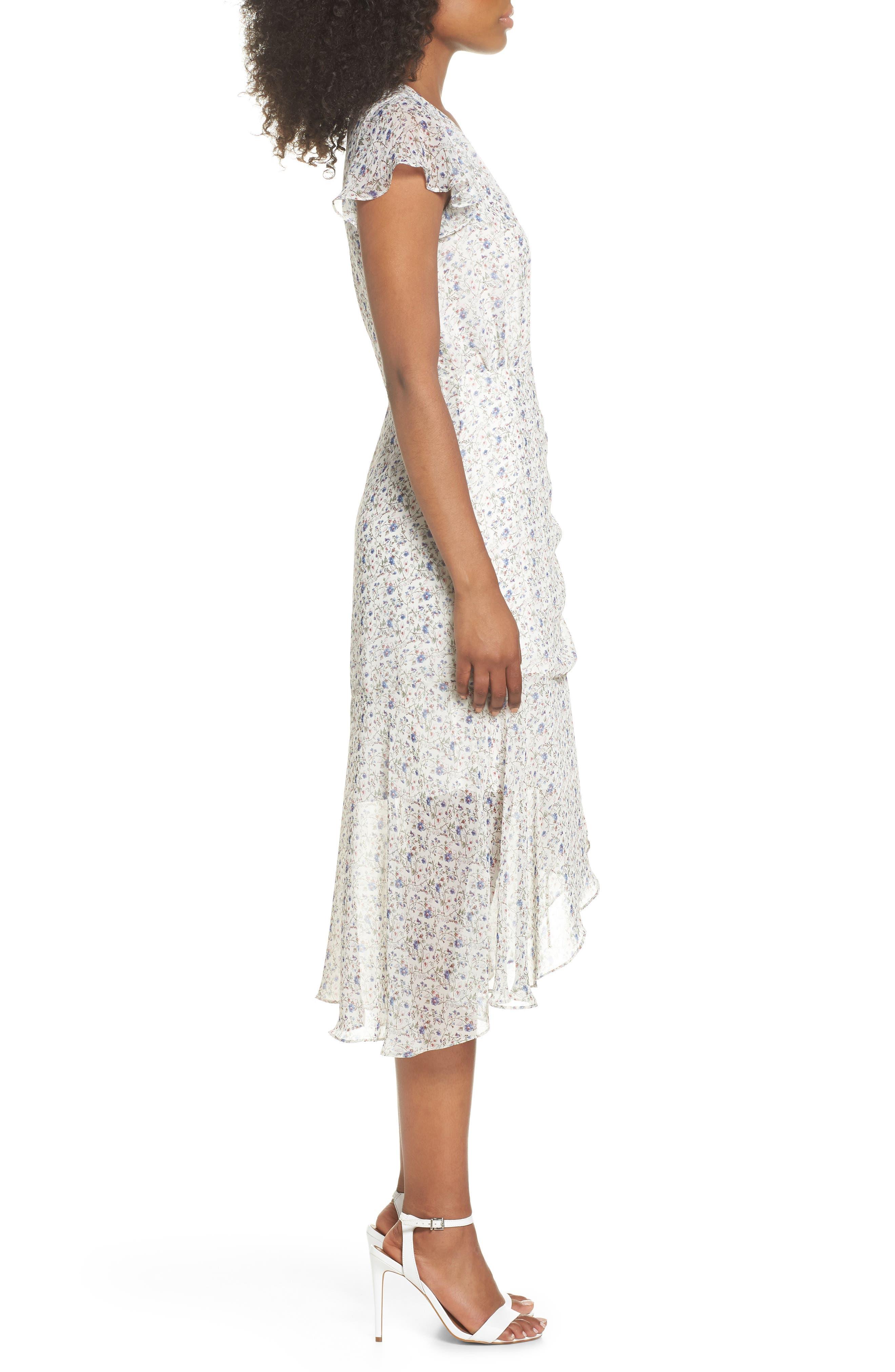 Print Ruched Chiffon Midi Dress,                             Alternate thumbnail 3, color,                             Ivory