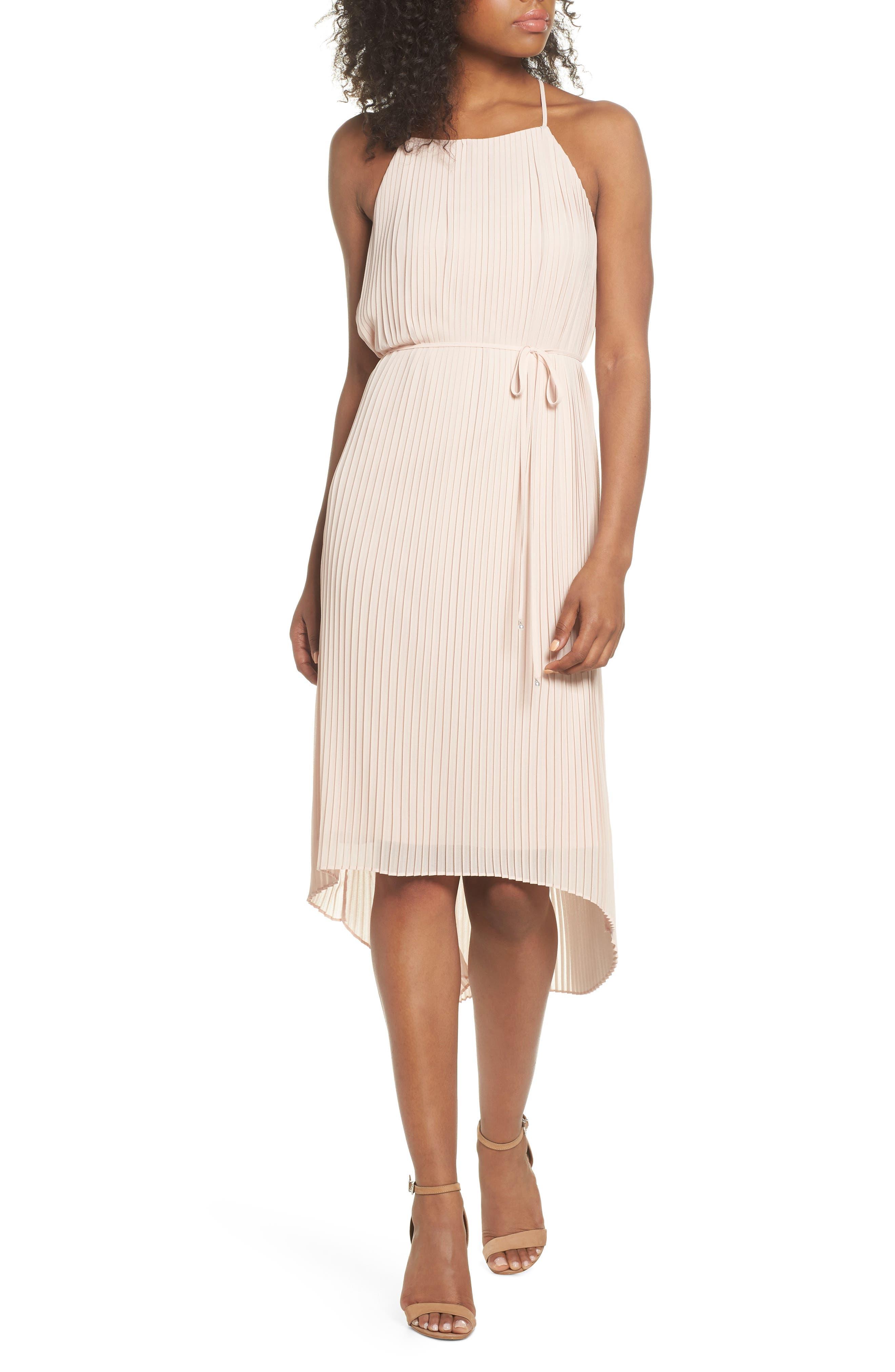 Pleated Midi Dress,                         Main,                         color, Blush