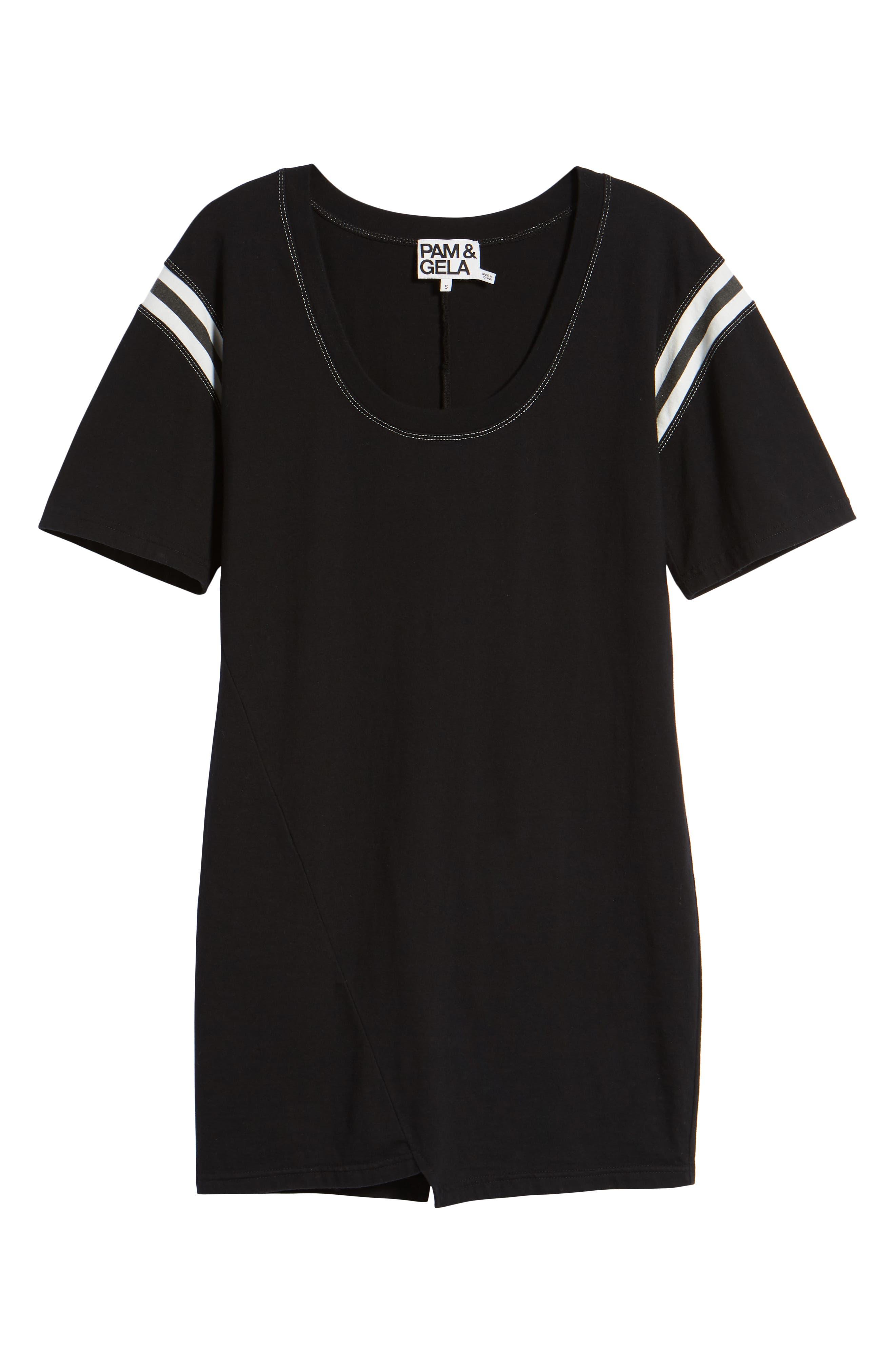 Football Stripe Dress,                             Alternate thumbnail 6, color,                             Black