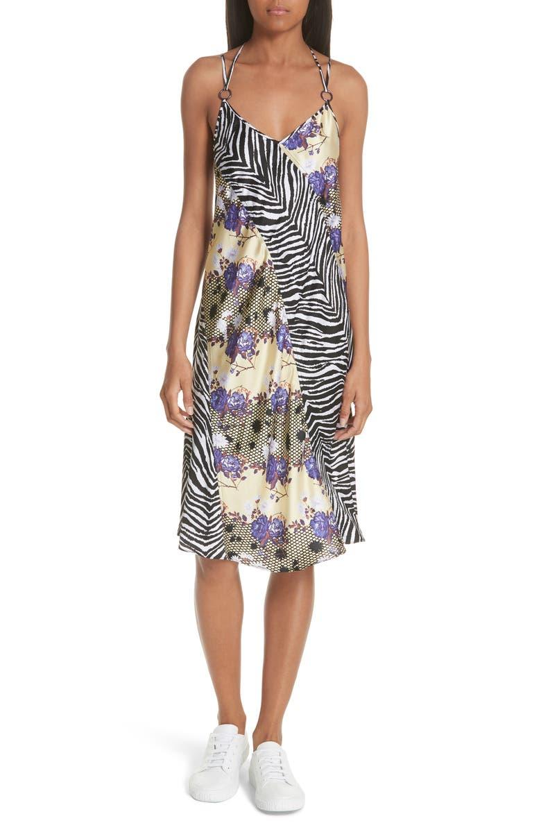 Floral  Zebra Print Silk Slipdress