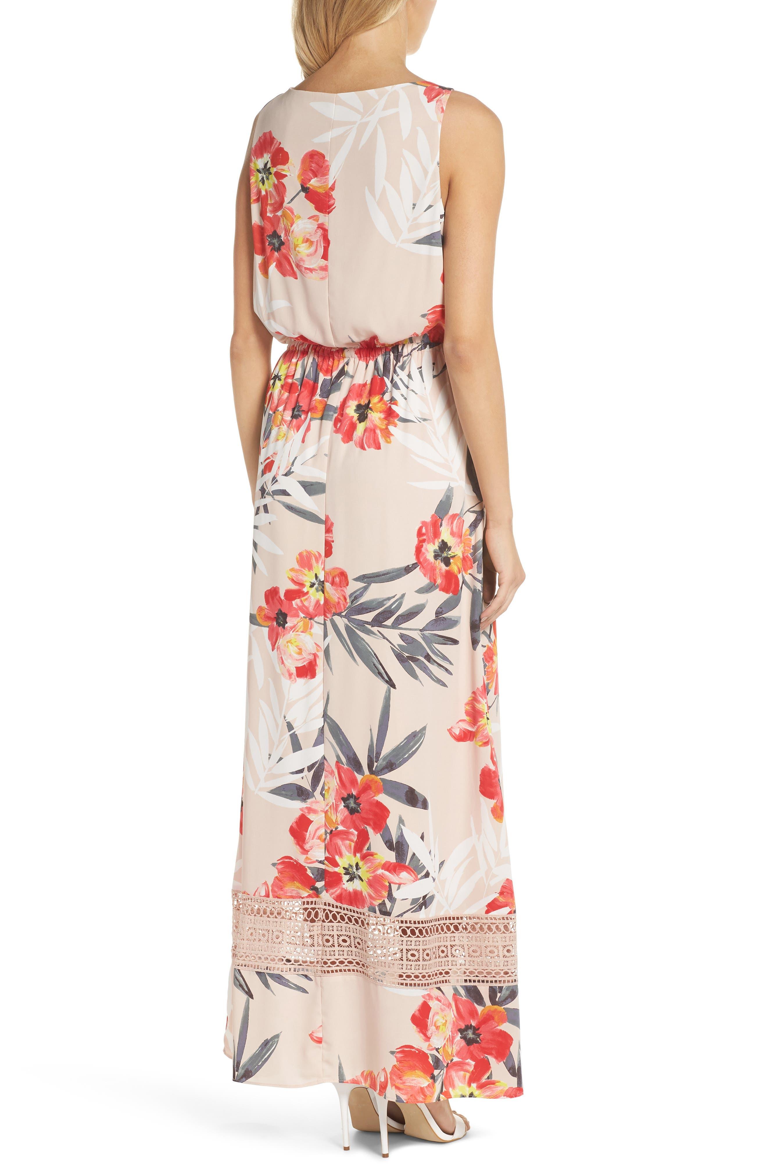 Tropical Breeze Print Maxi Dress,                             Alternate thumbnail 2, color,                             Geranium Multi
