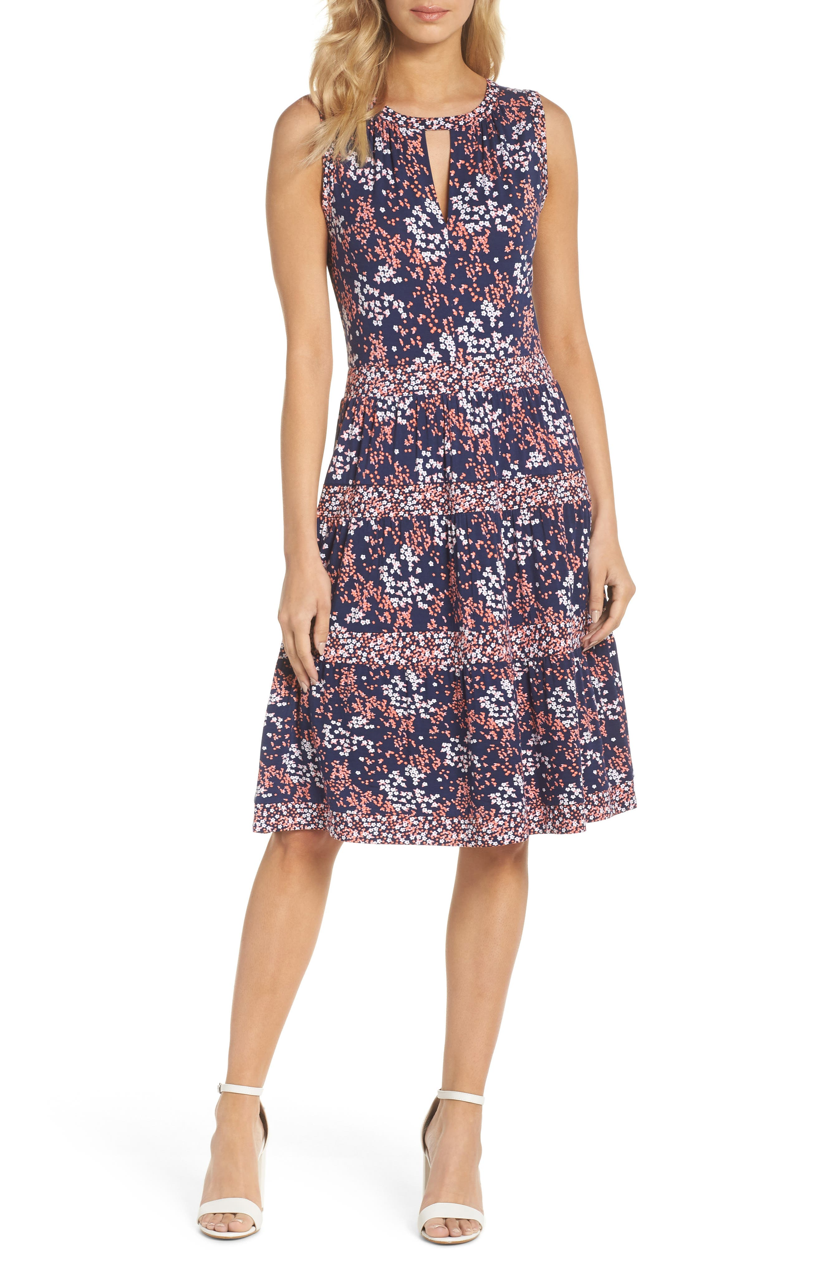 Blooms Border Tiered Dress,                             Main thumbnail 1, color,                             True Navy/ Bright Blush