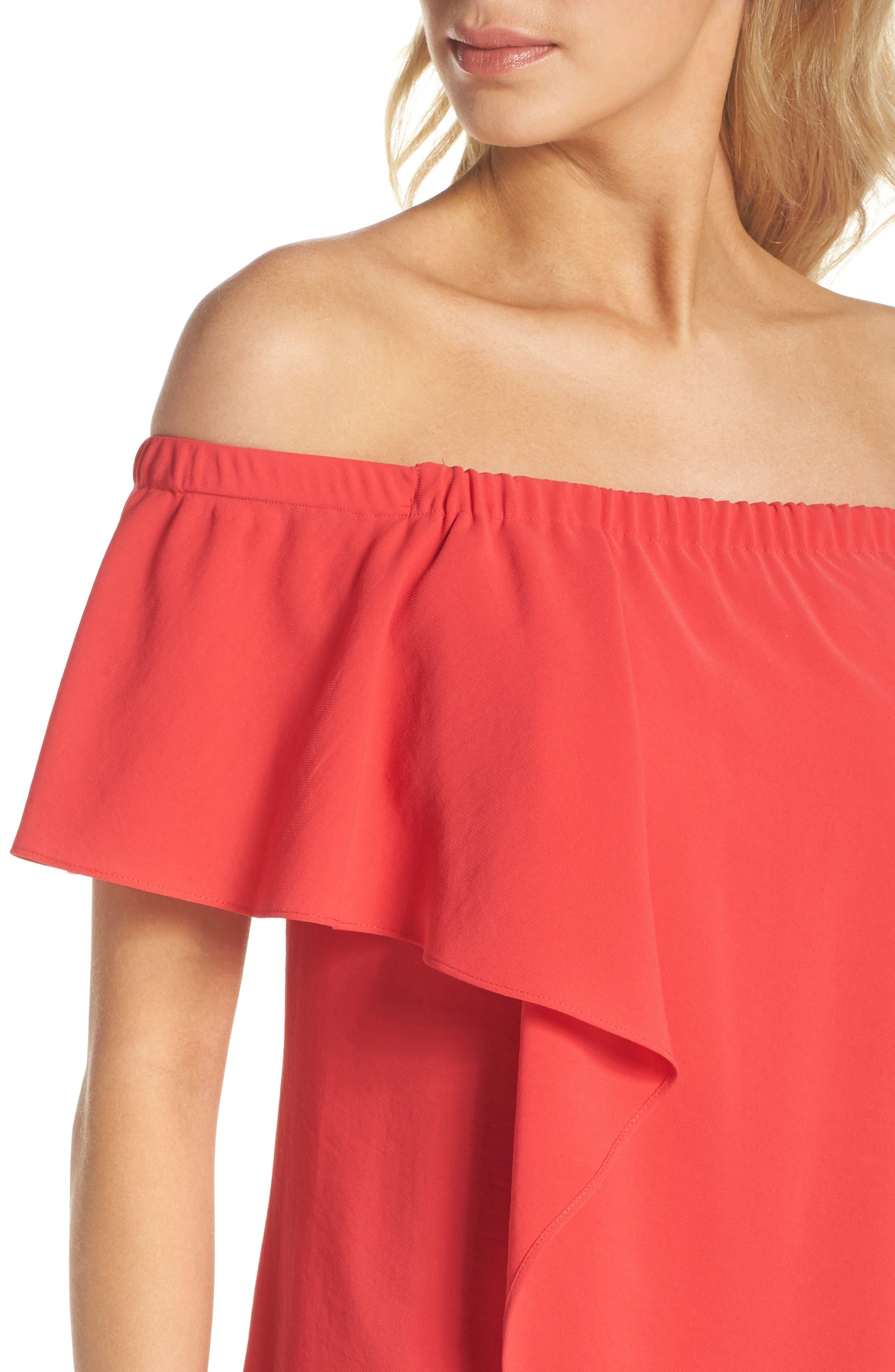 Off the Shoulder Crepe Dress,                             Alternate thumbnail 4, color,                             Geranium