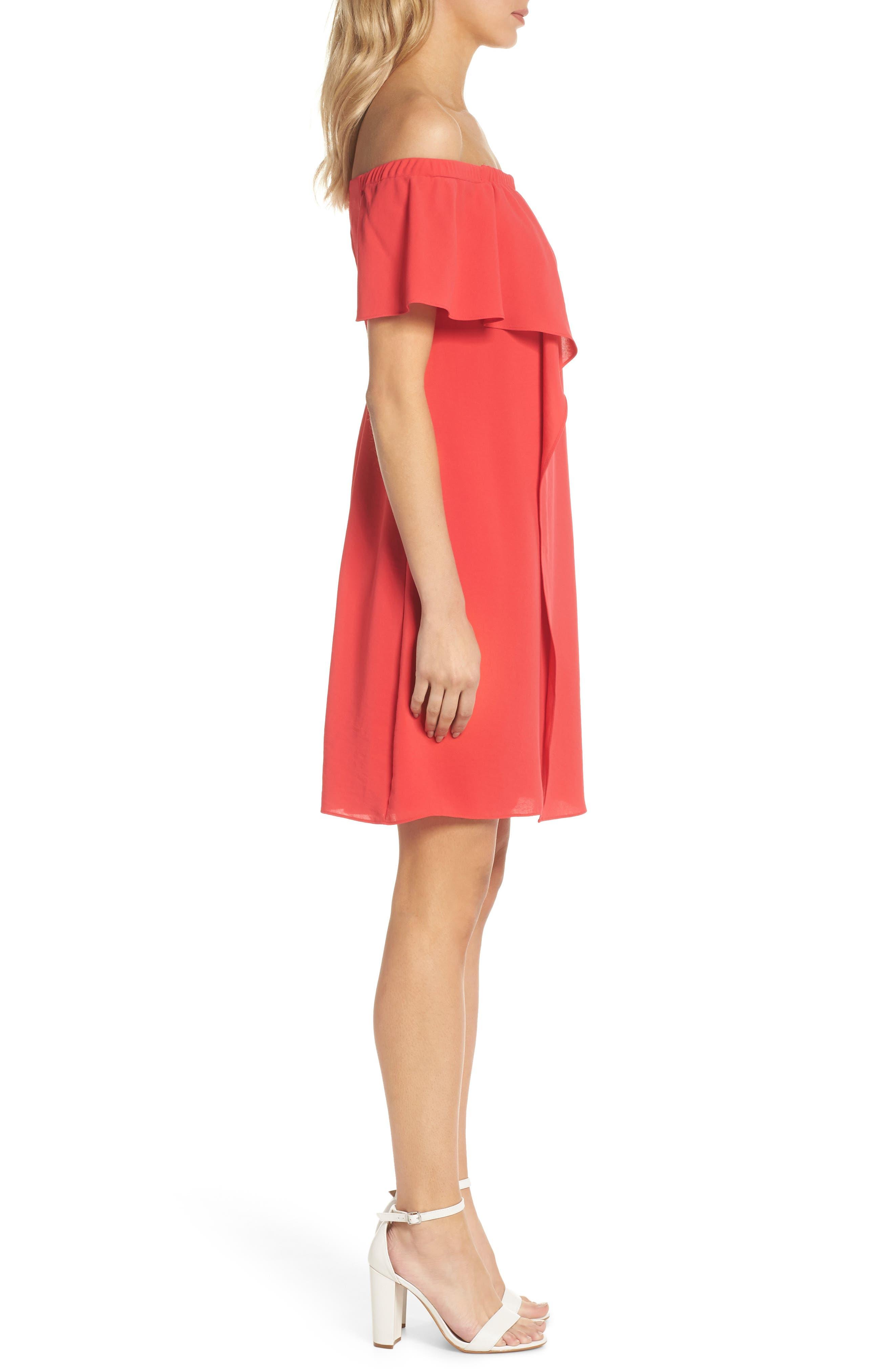 Off the Shoulder Crepe Dress,                             Alternate thumbnail 3, color,                             Geranium
