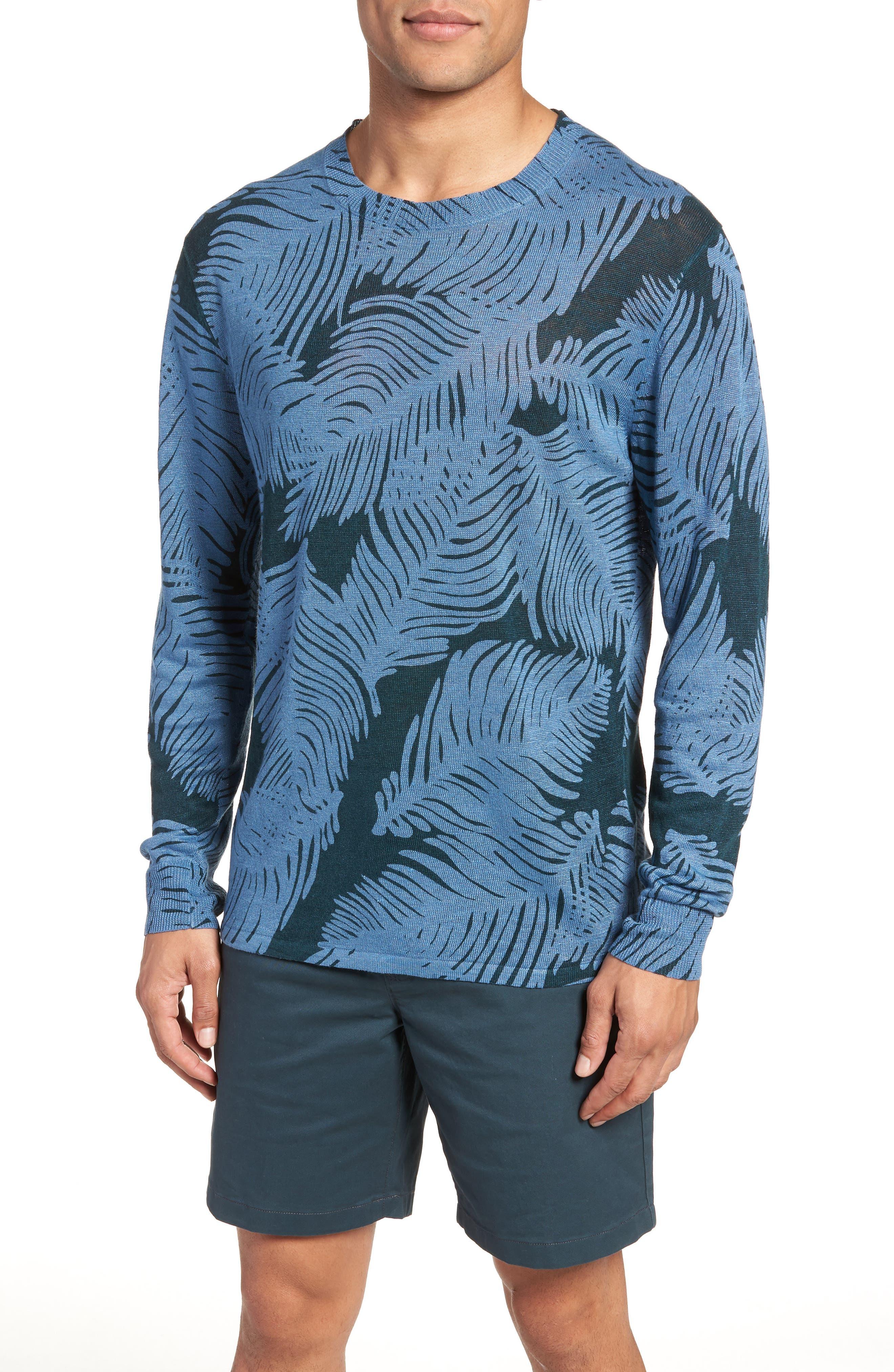 Palm Print Linen Sweater,                             Main thumbnail 1, color,                             Palm Fan Print