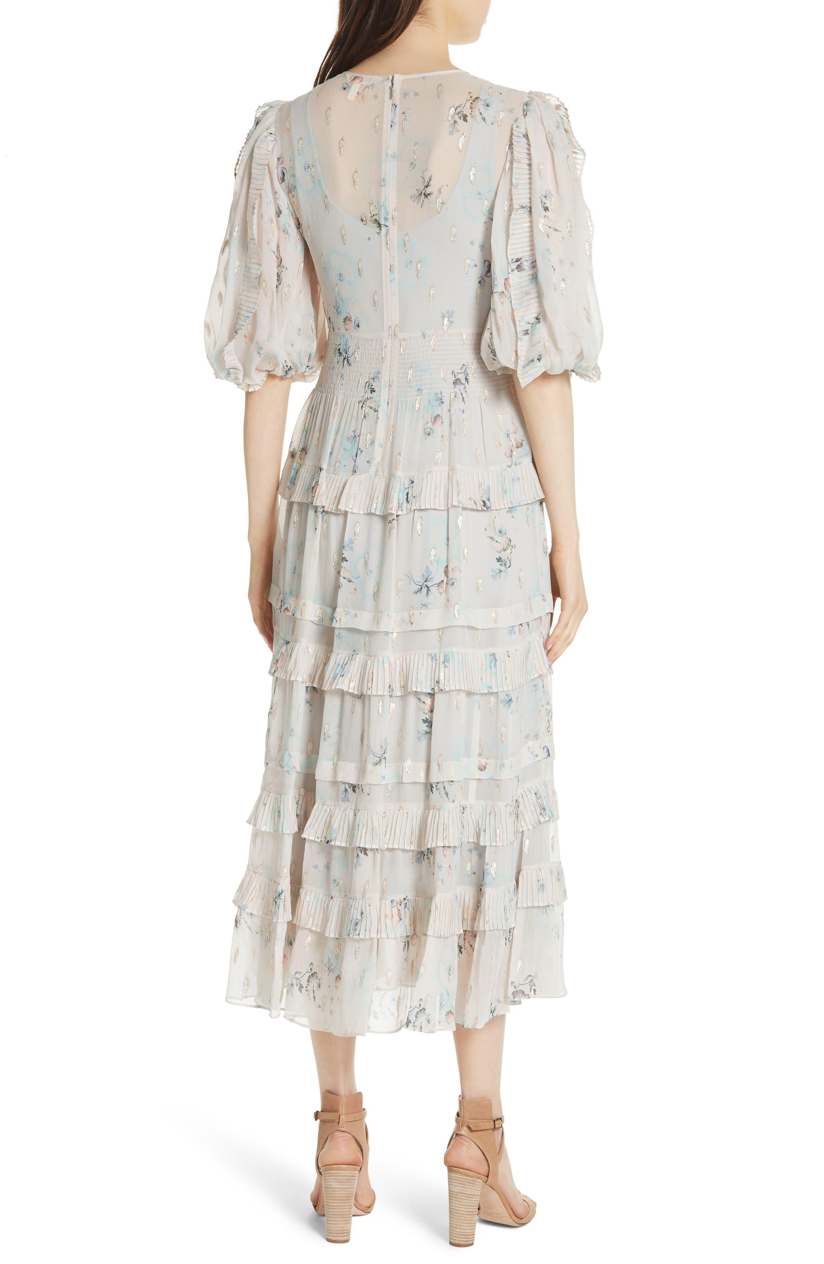 Metallic Faded Floral Midi Dress,                             Alternate thumbnail 2, color,                             Stone