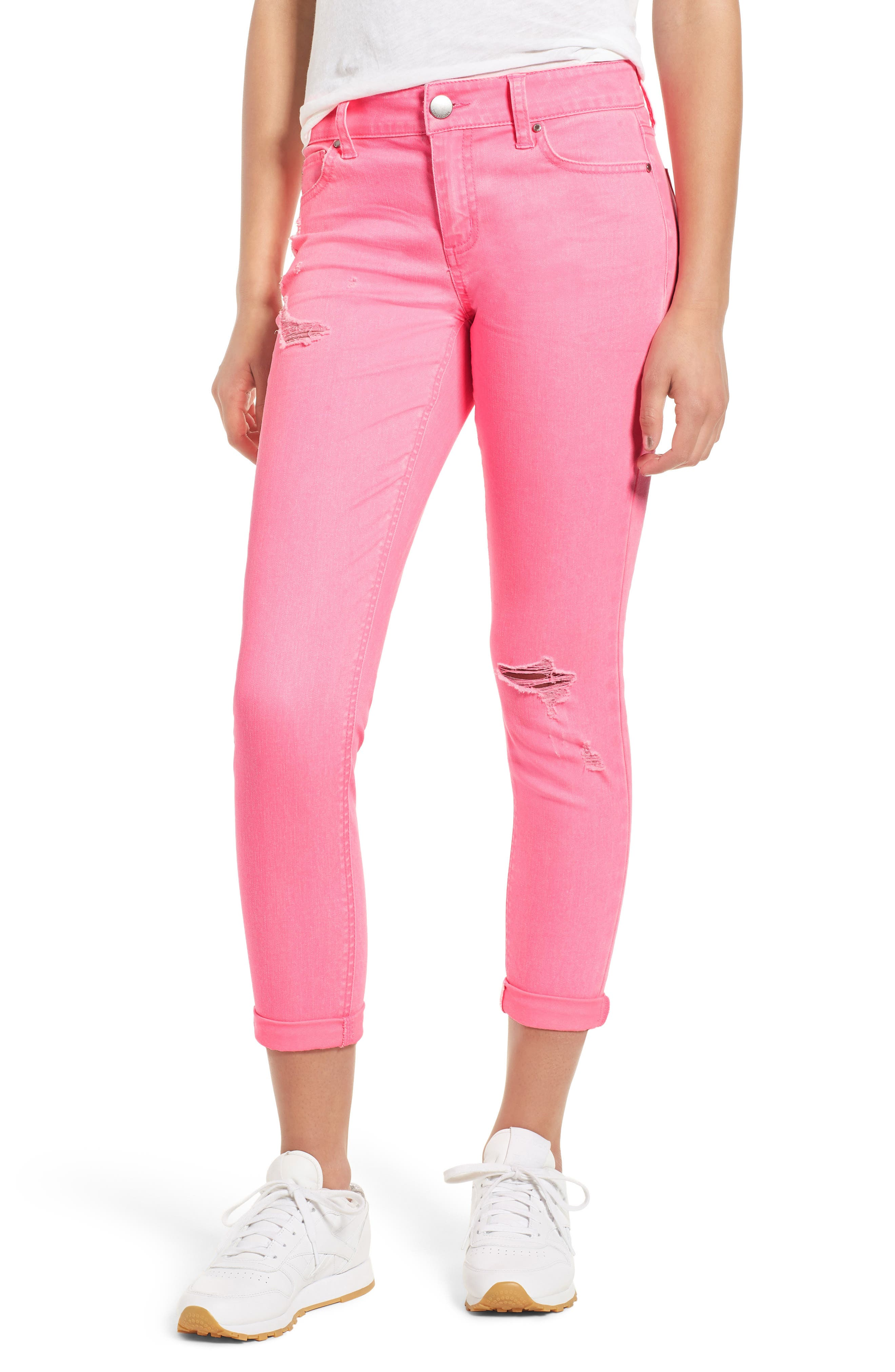 Distressed Roll Cuff Skinny Jeans,                         Main,                         color, Electric Pink