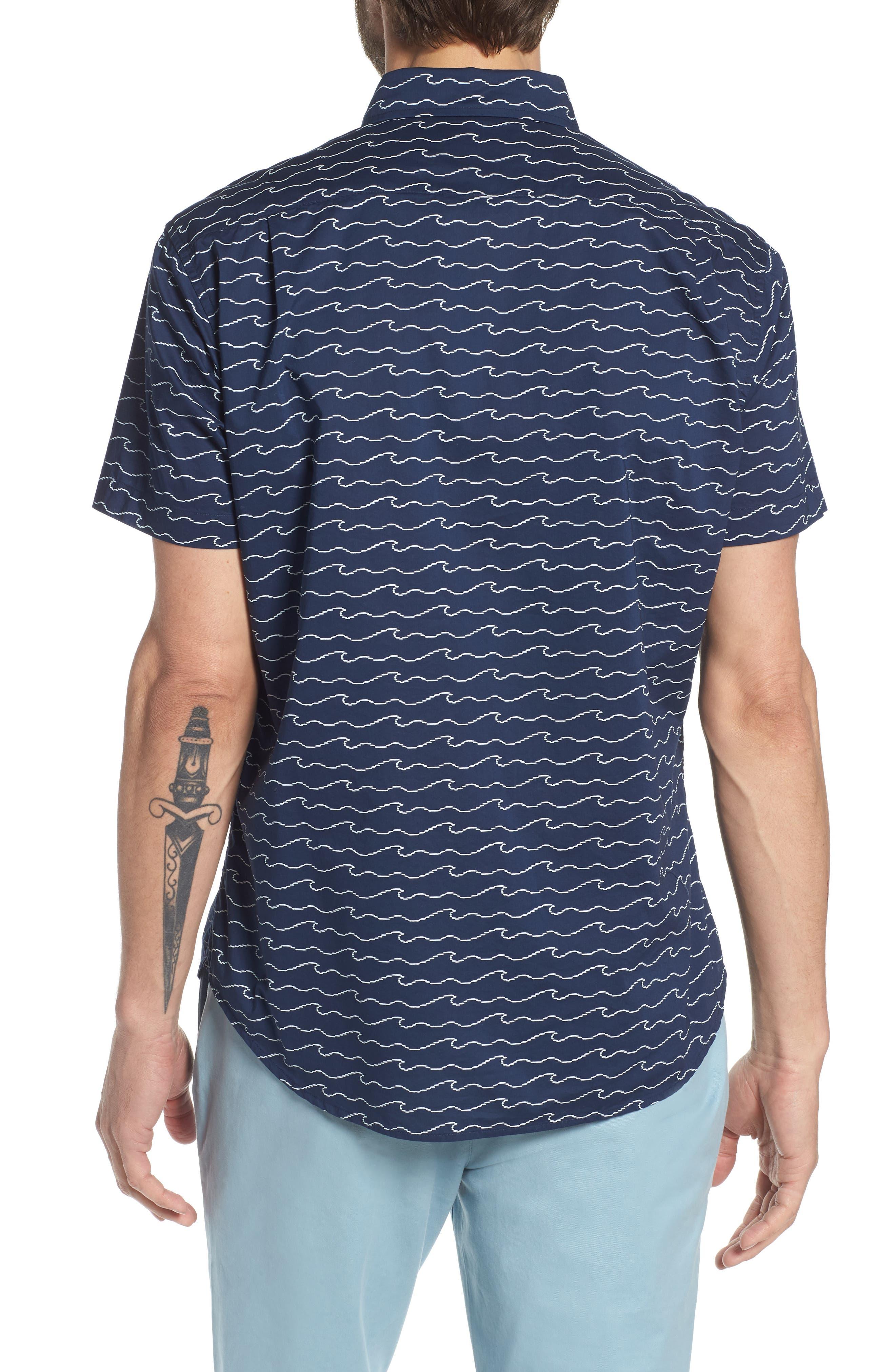 Slim Fit Print Sport Shirt,                             Alternate thumbnail 3, color,                             Digital Wave - Deep Pacific
