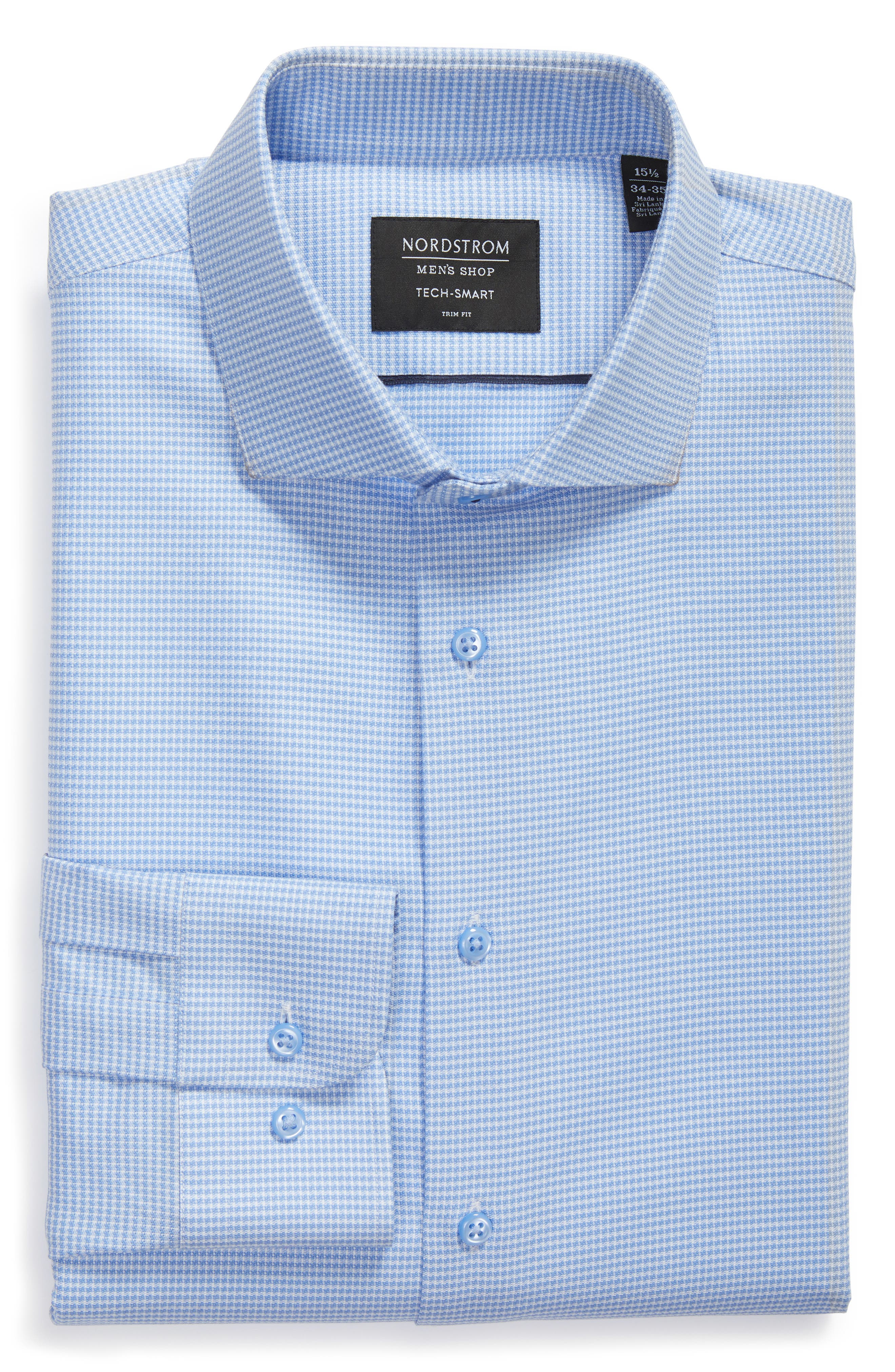 Tech-Smart Trim Fit Stretch Texture Dress Shirt,                             Alternate thumbnail 6, color,                             Blue Hydrangea