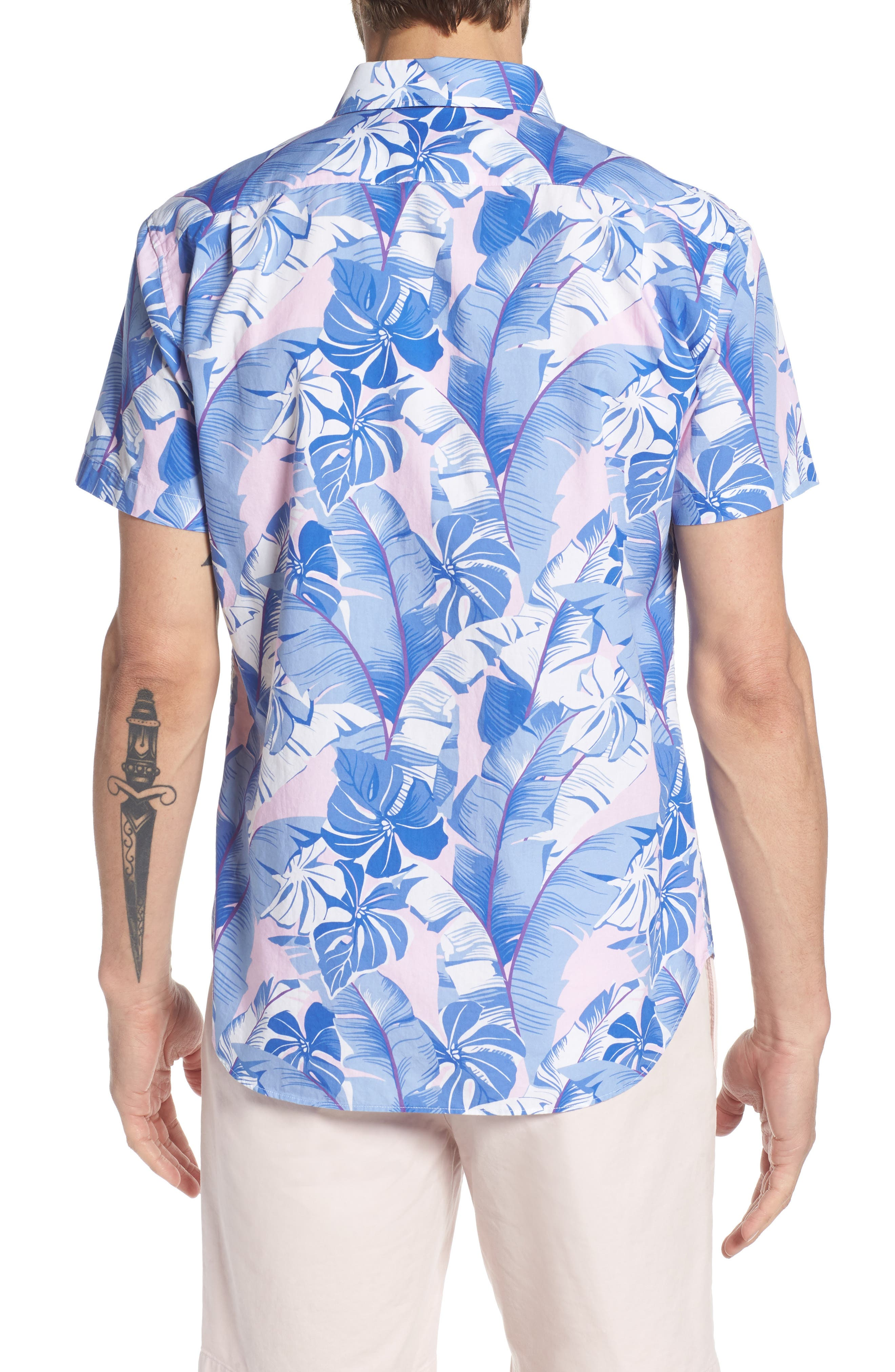 Slim Fit Tropical Print Premium Sport Shirt,                             Alternate thumbnail 3, color,                             Tropical - Berry Smoothie