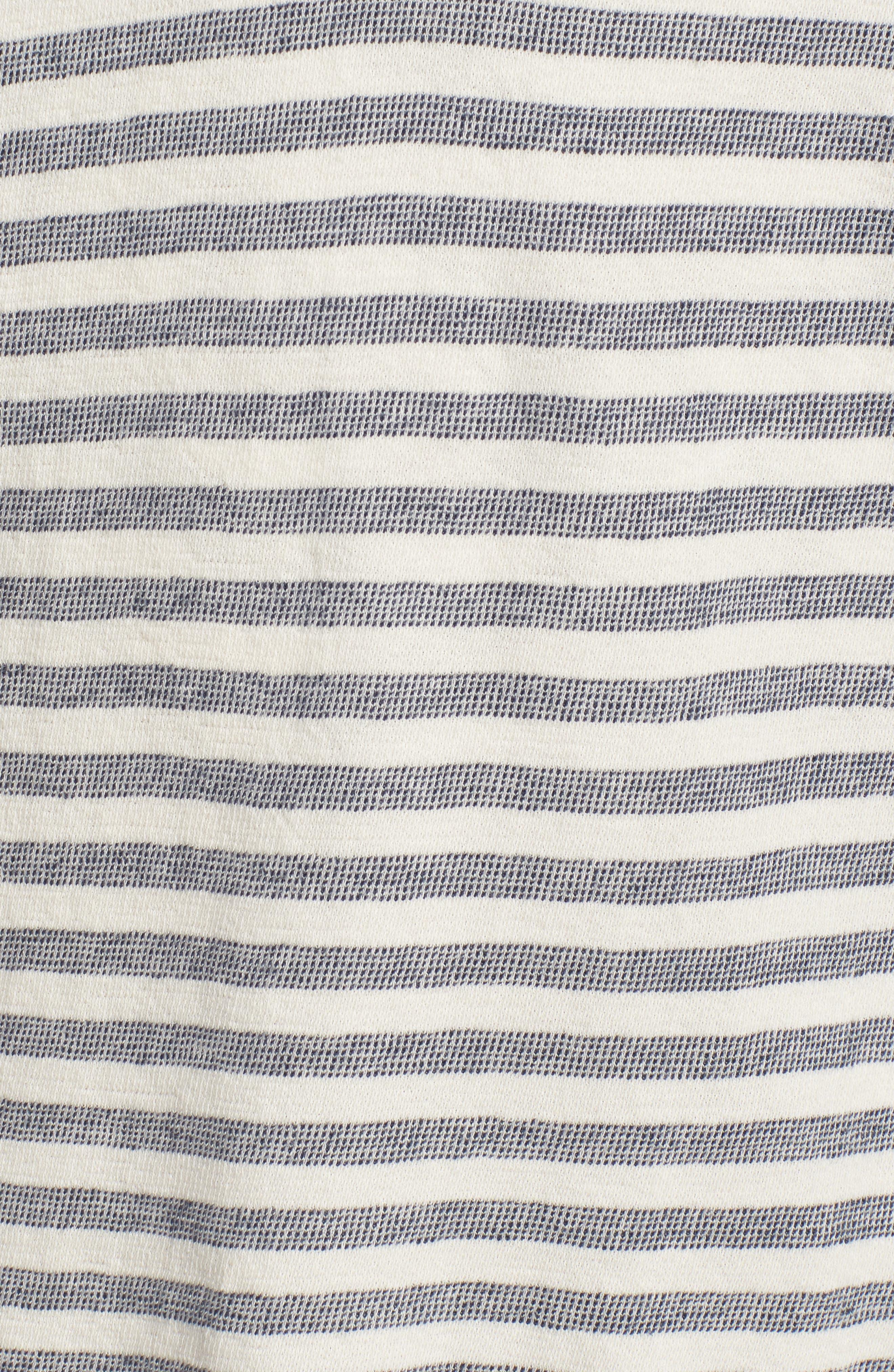 Stripe Poncho Hoodie,                             Alternate thumbnail 5, color,                             Seashell/ French Navy