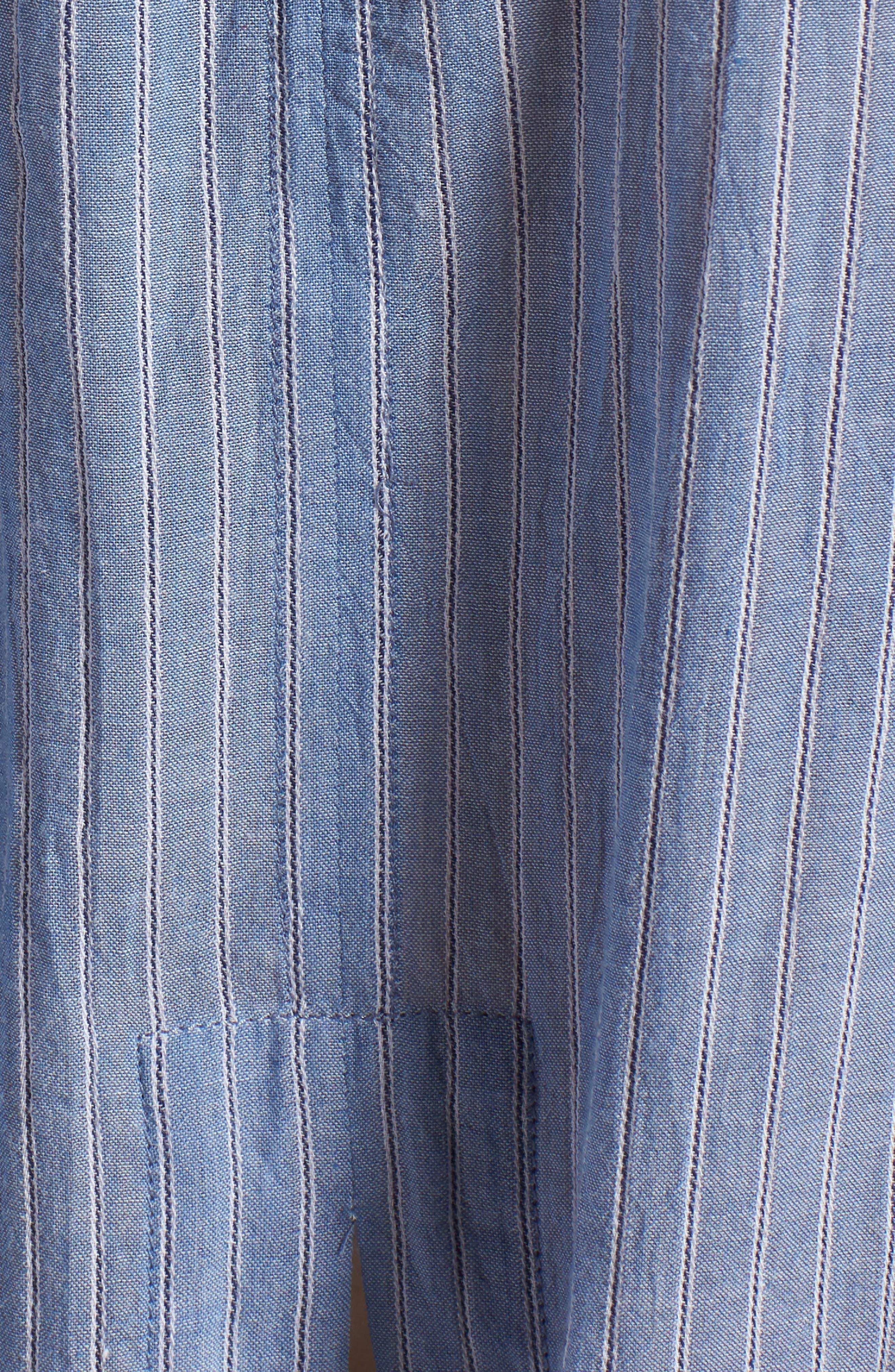 Tie Back Shirt,                             Alternate thumbnail 5, color,                             Blue Airy Stripe